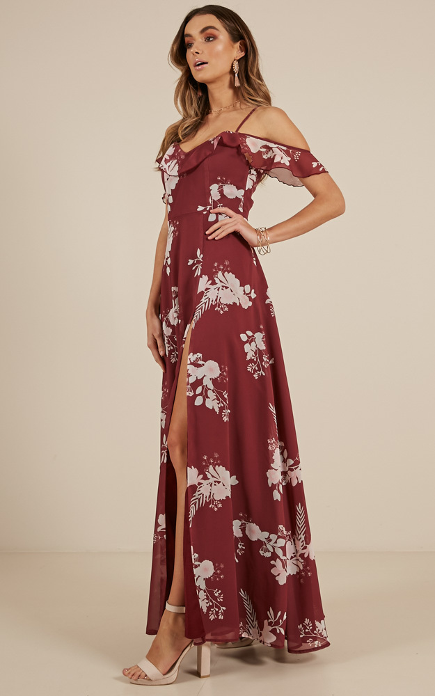 Sway Away maxi dress in Wine Floral  - 20 (XXXXL), Wine, hi-res image number null