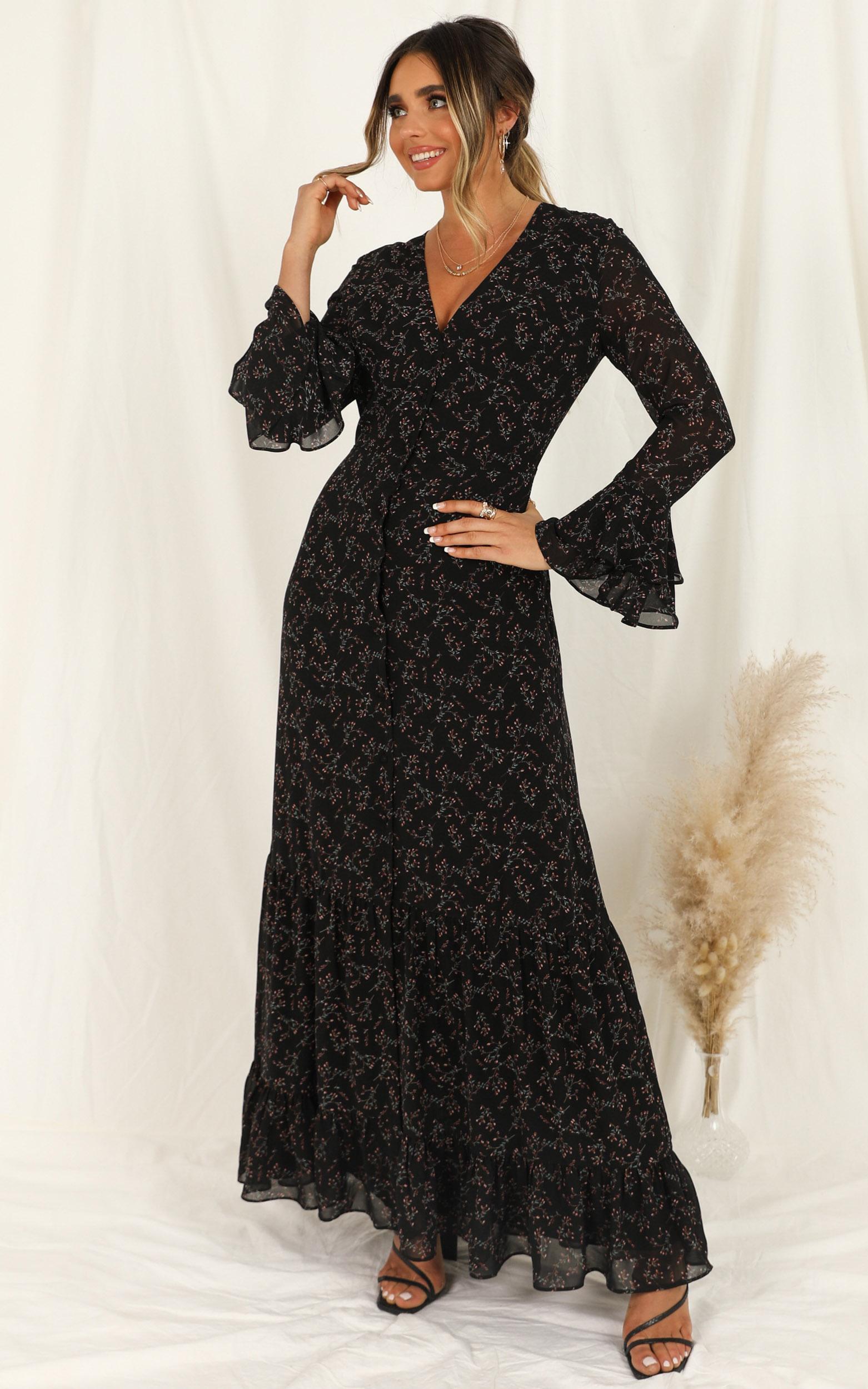 Wild Attitude Dress in black floral - 20 (XXXXL), Black, hi-res image number null