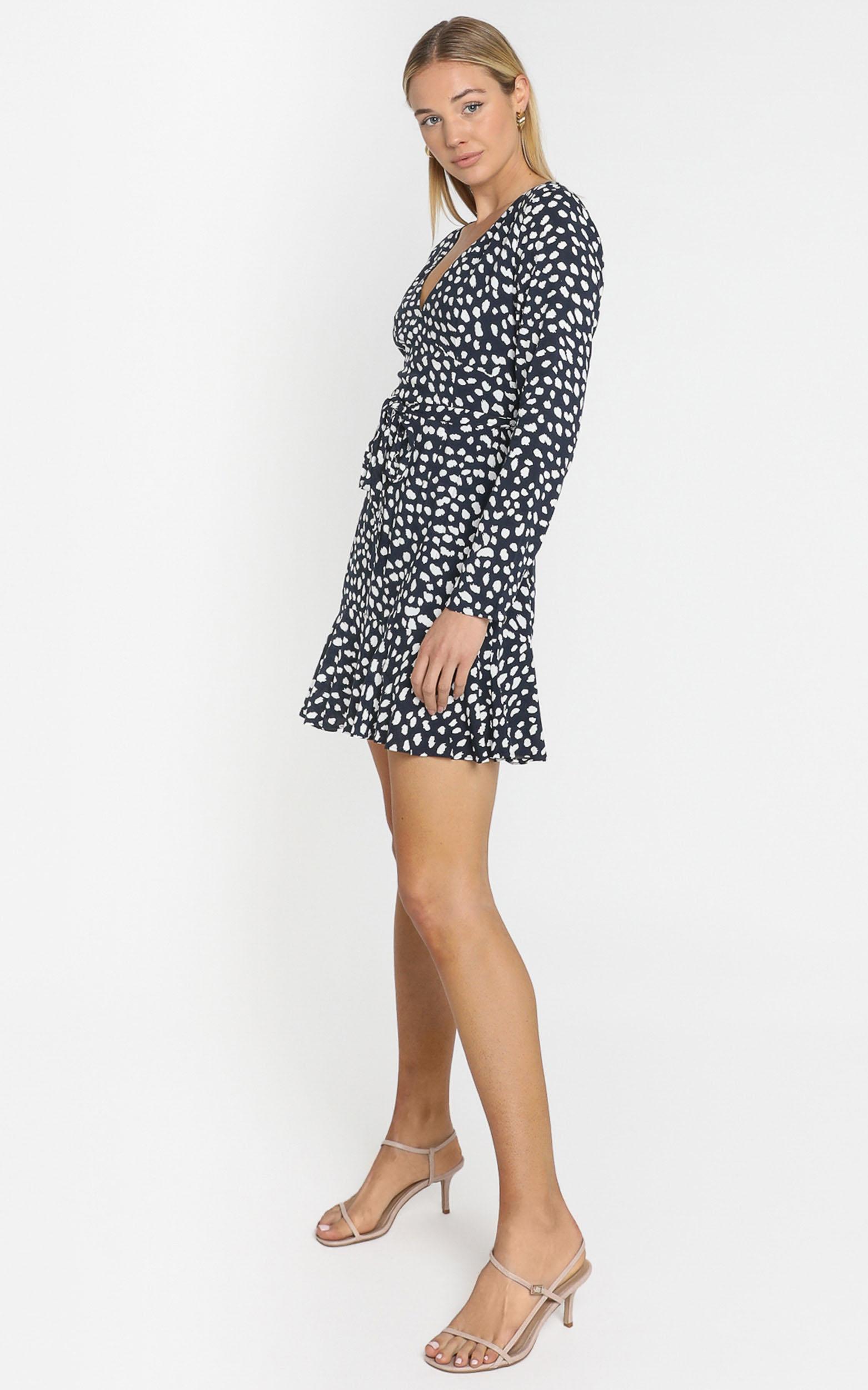 Farah Dress in Navy Spot - 6 (XS), Navy, hi-res image number null