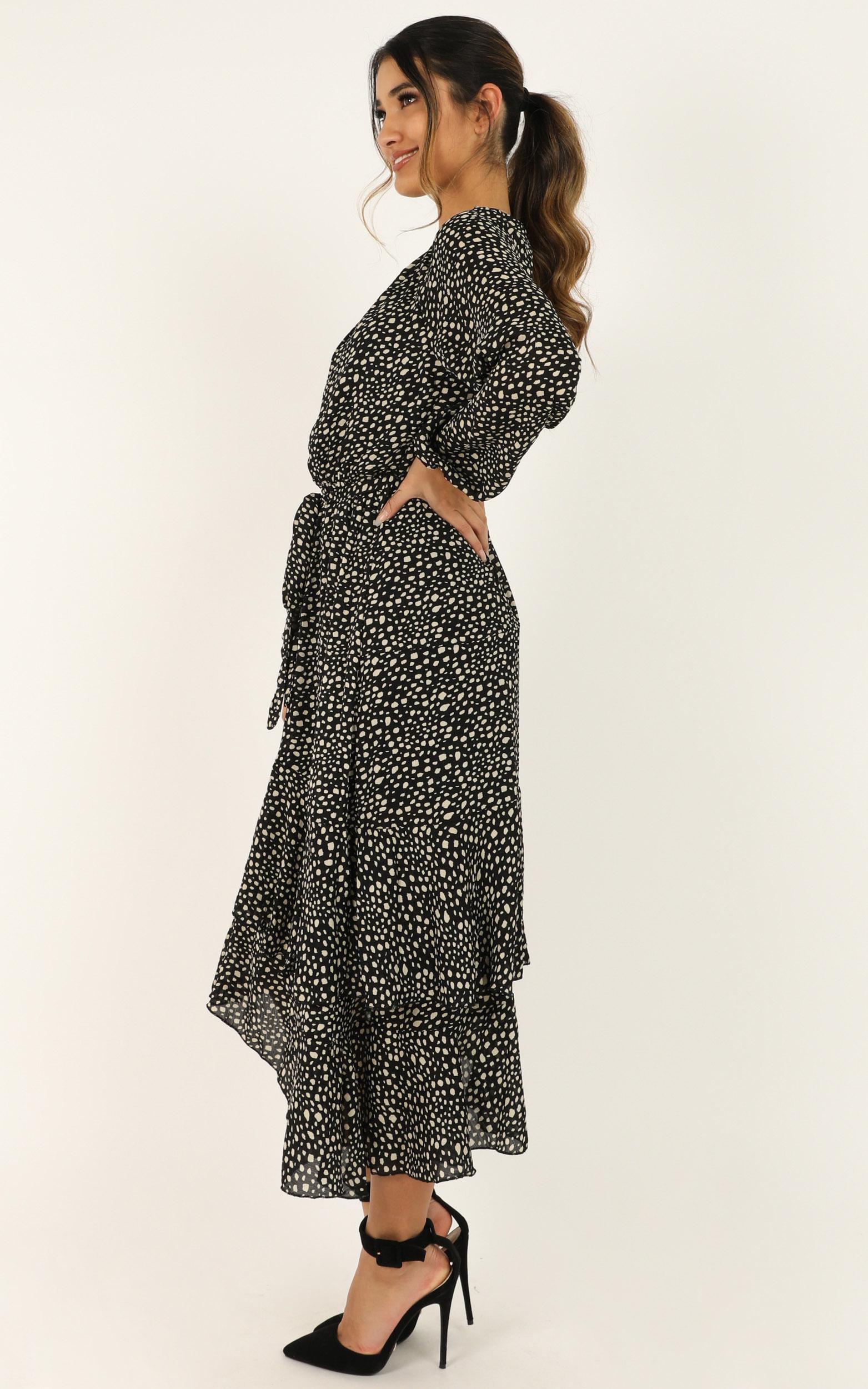 Start and End dress in black print - 6 (XS), Black, hi-res image number null