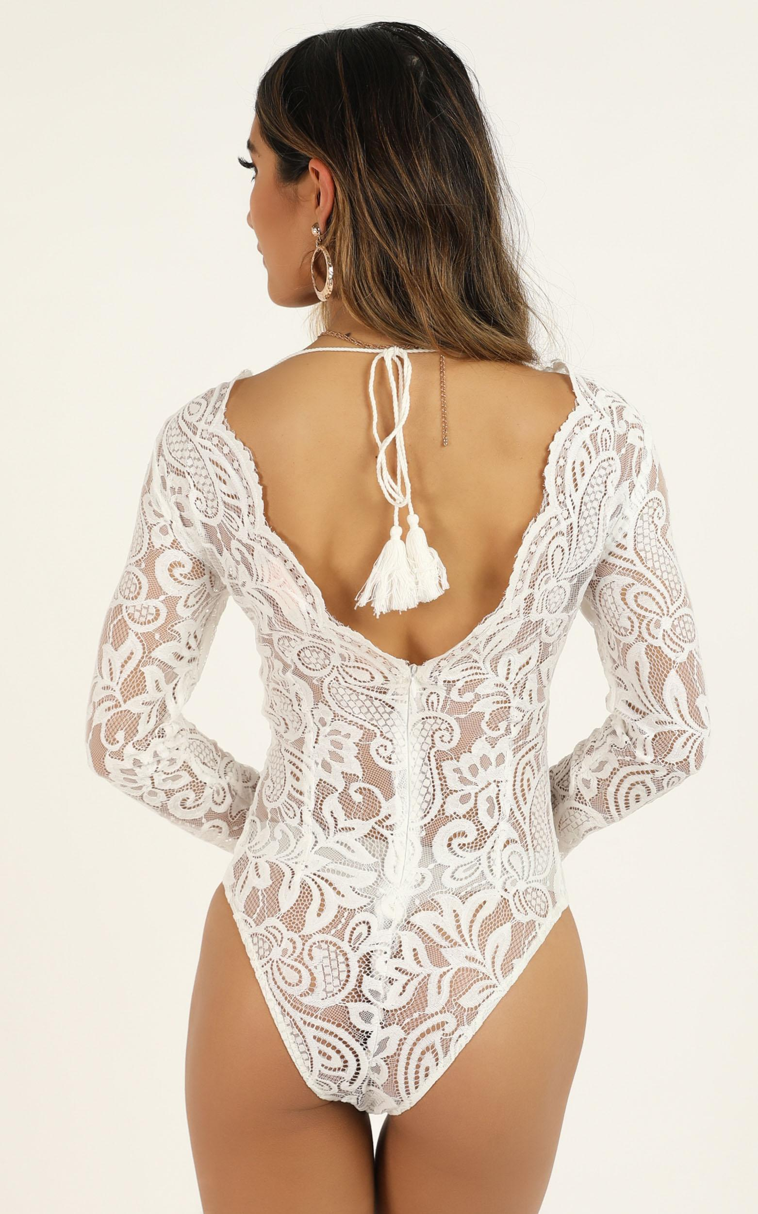 Love Buzz Bodysuit In White Lace  - 16 (XXL), White, hi-res image number null