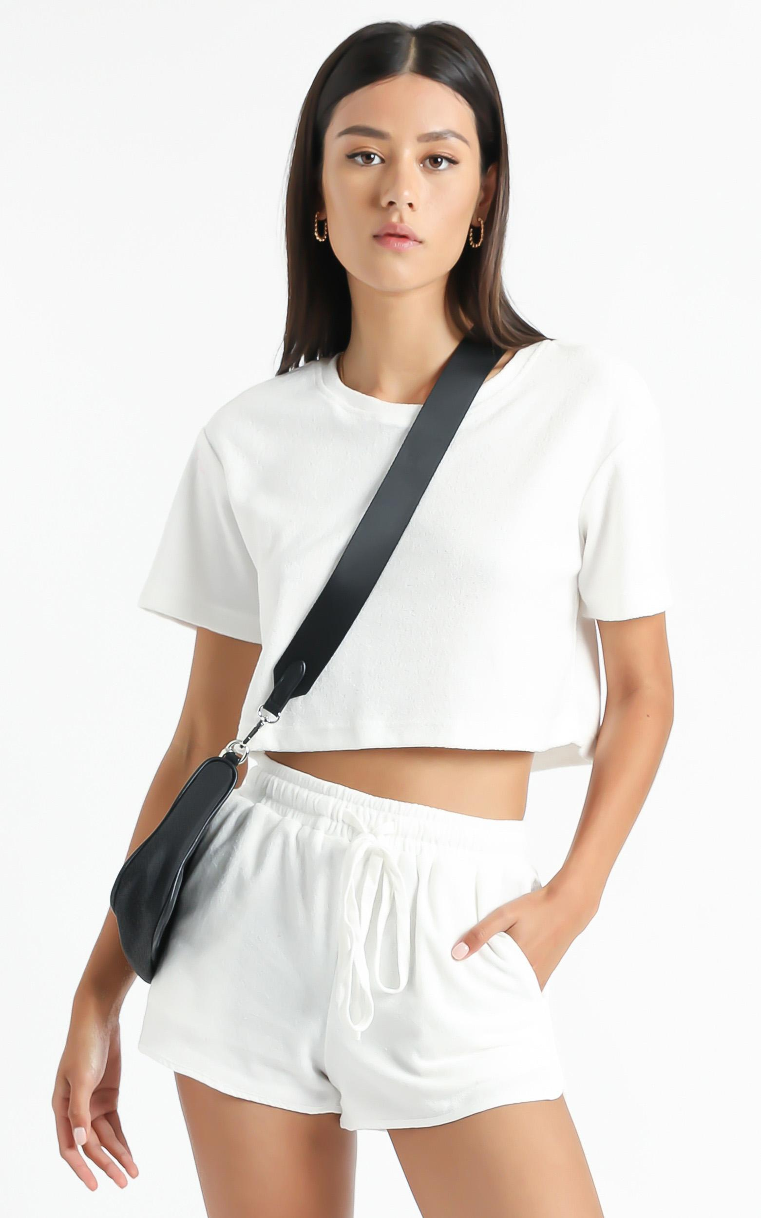 Nori Two Piece Set in White Terry Towelling - 6 (XS), White, hi-res image number null
