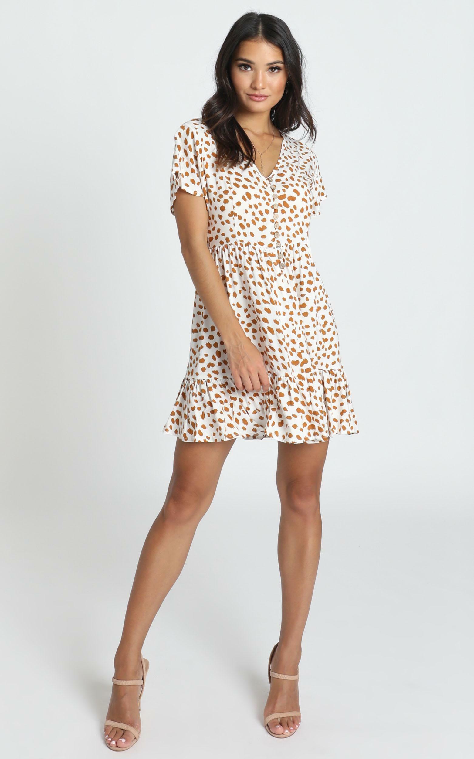 Mylo Dress in tan spot - 14 (XL), Tan, hi-res image number null