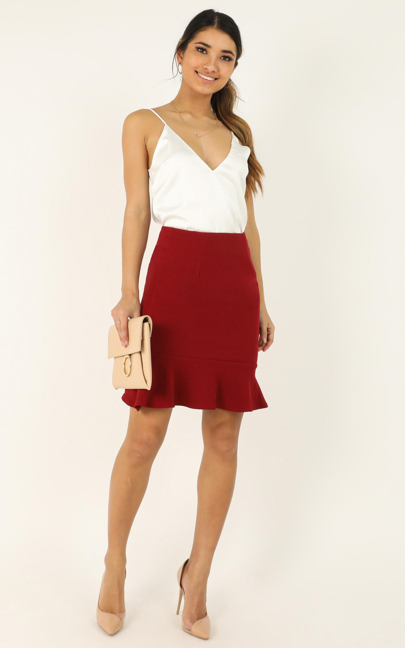 Smooth Talker Skirt In wine - 20 (XXXXL), Wine, hi-res image number null