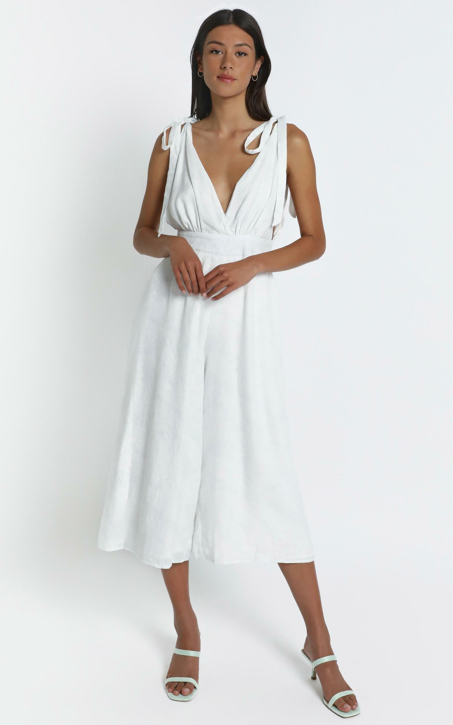 Jaden Jumpsuit in White Palm - 6 (XS), White, hi-res image number null