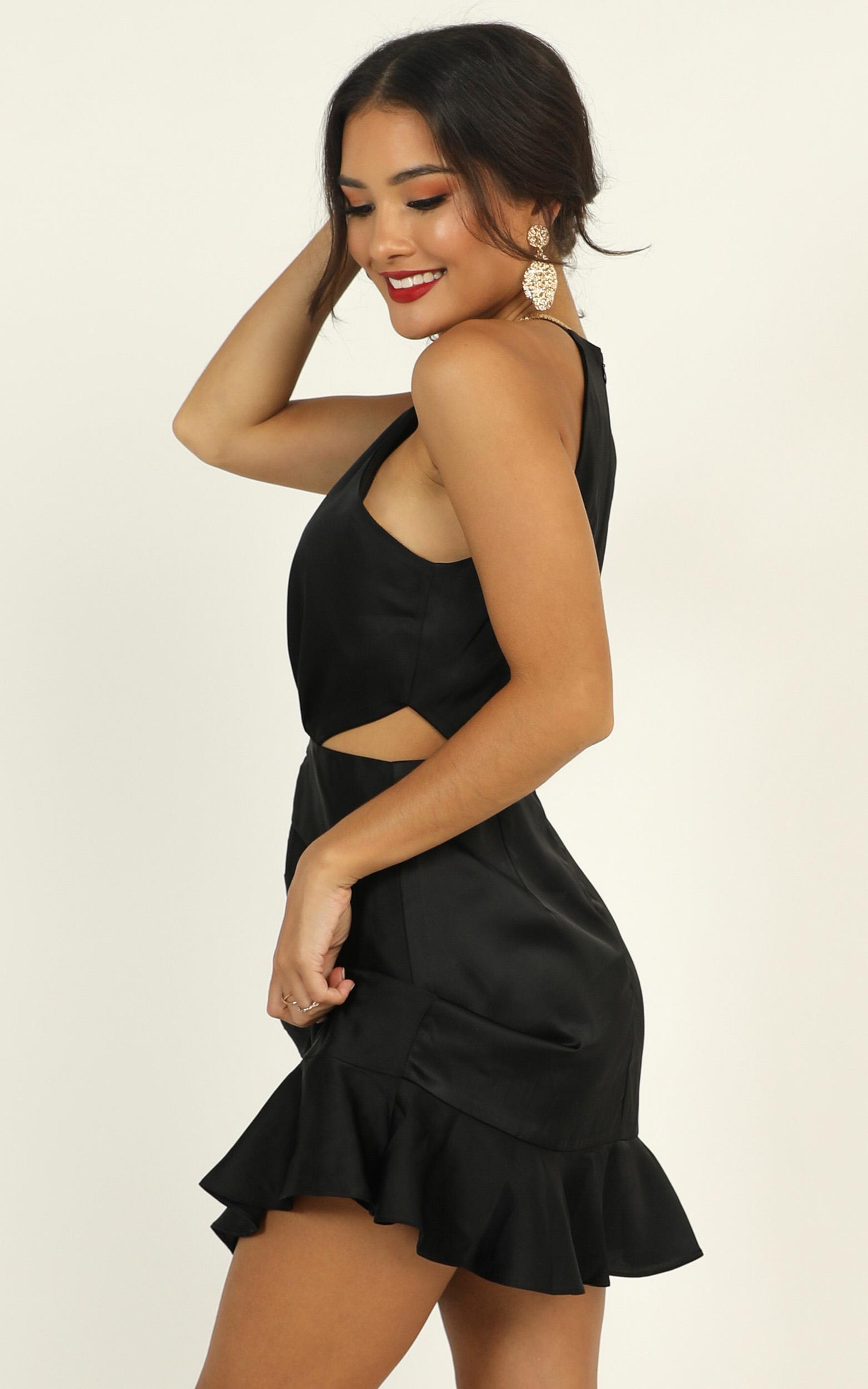 Be Humble Dress in black satin - 14 (XL), Black, hi-res image number null
