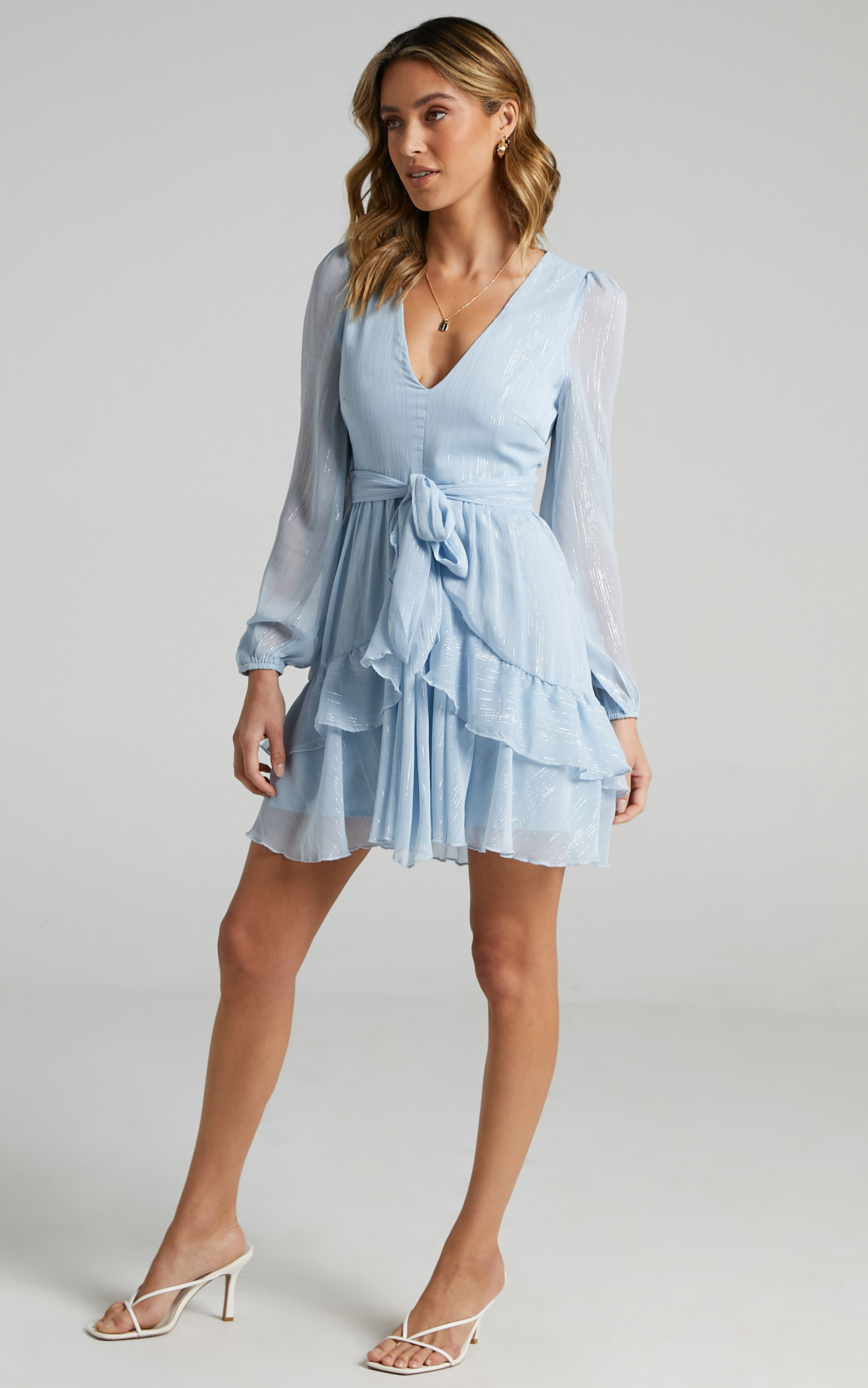 Eyes That Know Me Long Sleeve Ruffle Mini Dress in Powder Blue - 06, BLU4, hi-res image number null