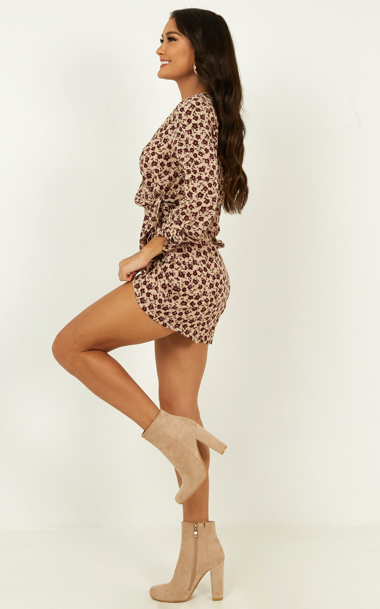 Sweetest Soul Playsuit in wine floral - 4 (XXS), Wine, hi-res image number null