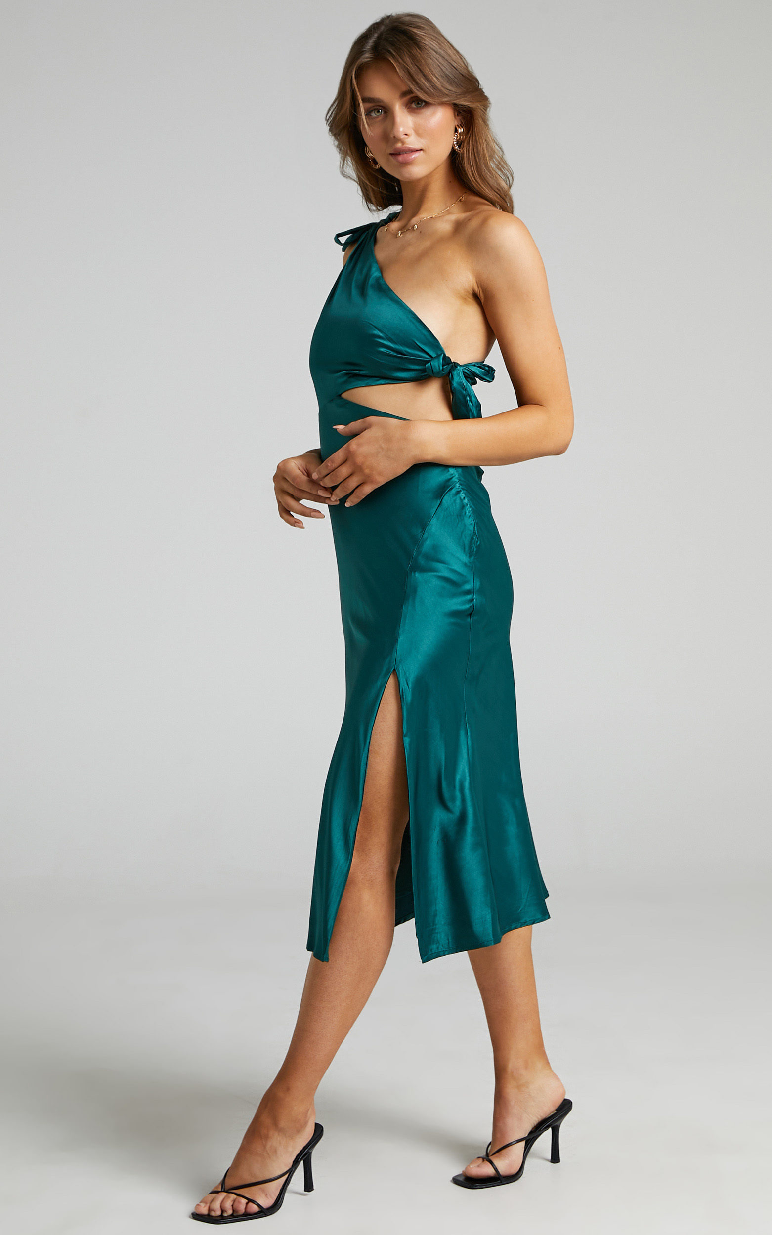 Glaucus Dress in Emerald Satin - 06, GRN1, hi-res image number null