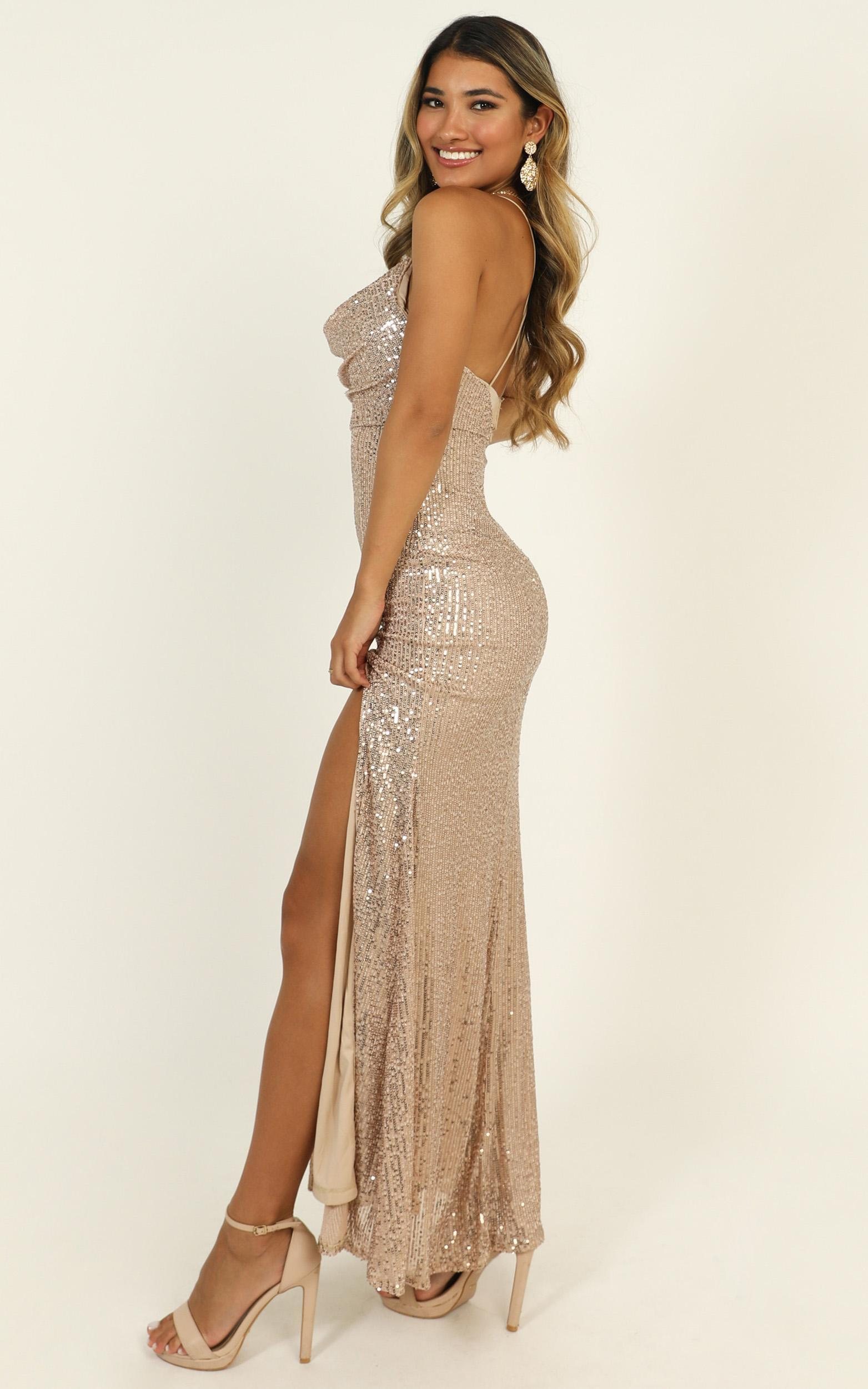 Together With You maxi dress in rose gold sequin - 16 (XXL), Rose Gold, hi-res image number null