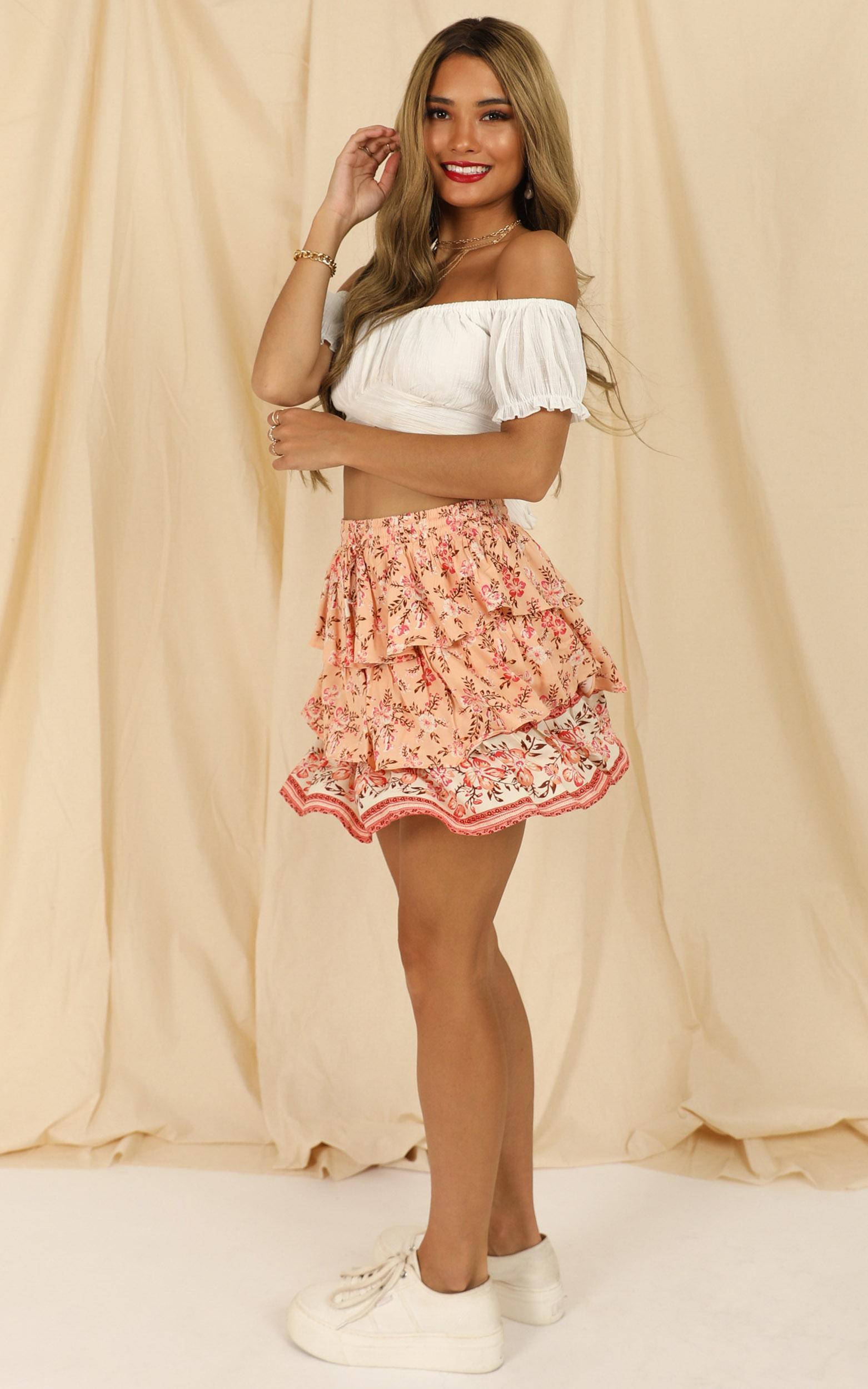 Lions Tail Skirt In Orange Floral - 14 (XL), Orange, hi-res image number null
