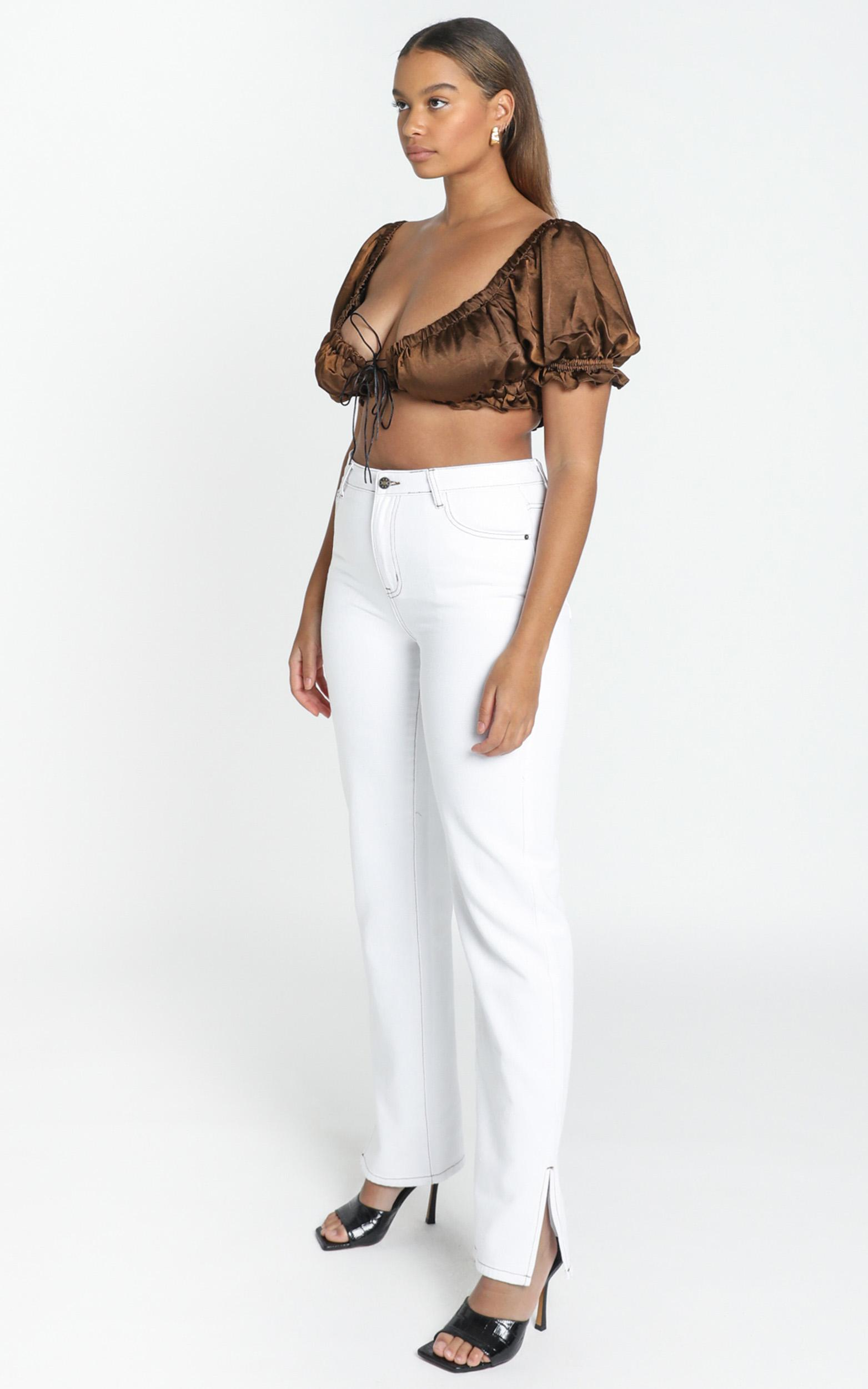 Lioness - A Little More Crop Top in Brown - 6 (XS), Brown, hi-res image number null