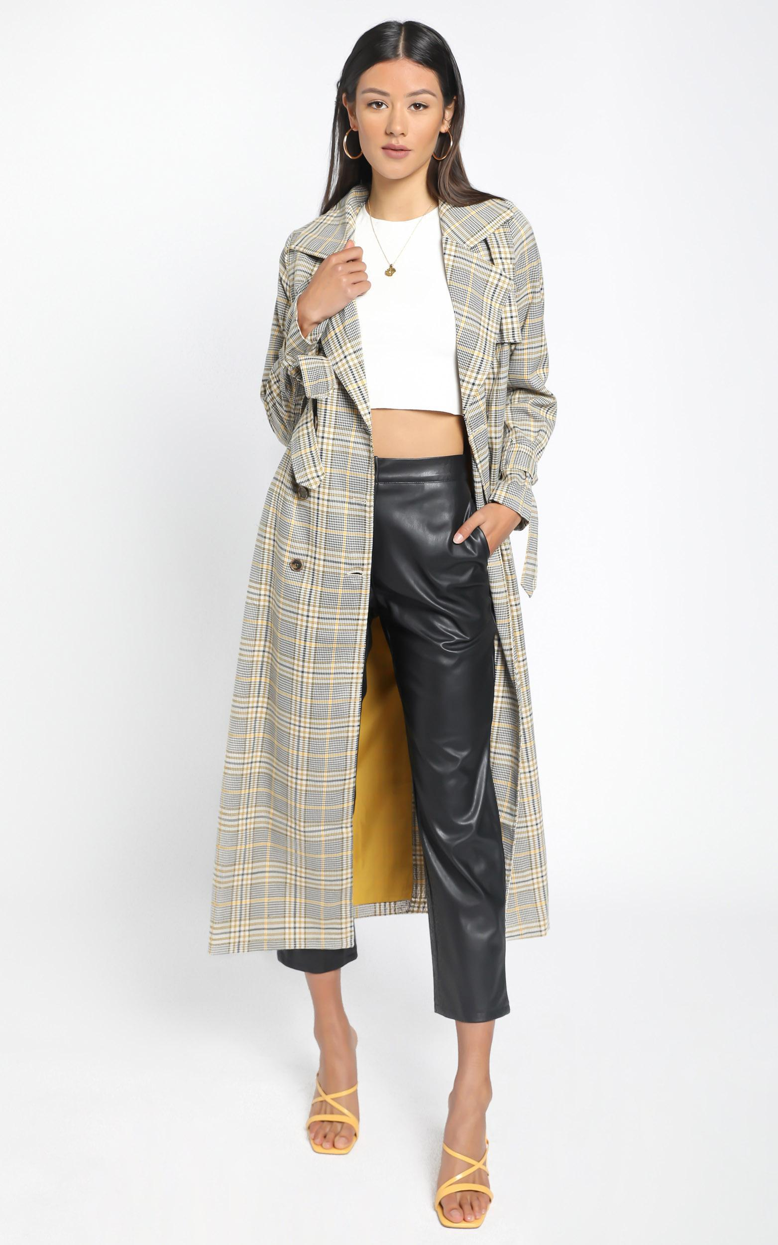 We Could Be Heroes Trench Coat in camel check - 6 (XS), Camel, hi-res image number null