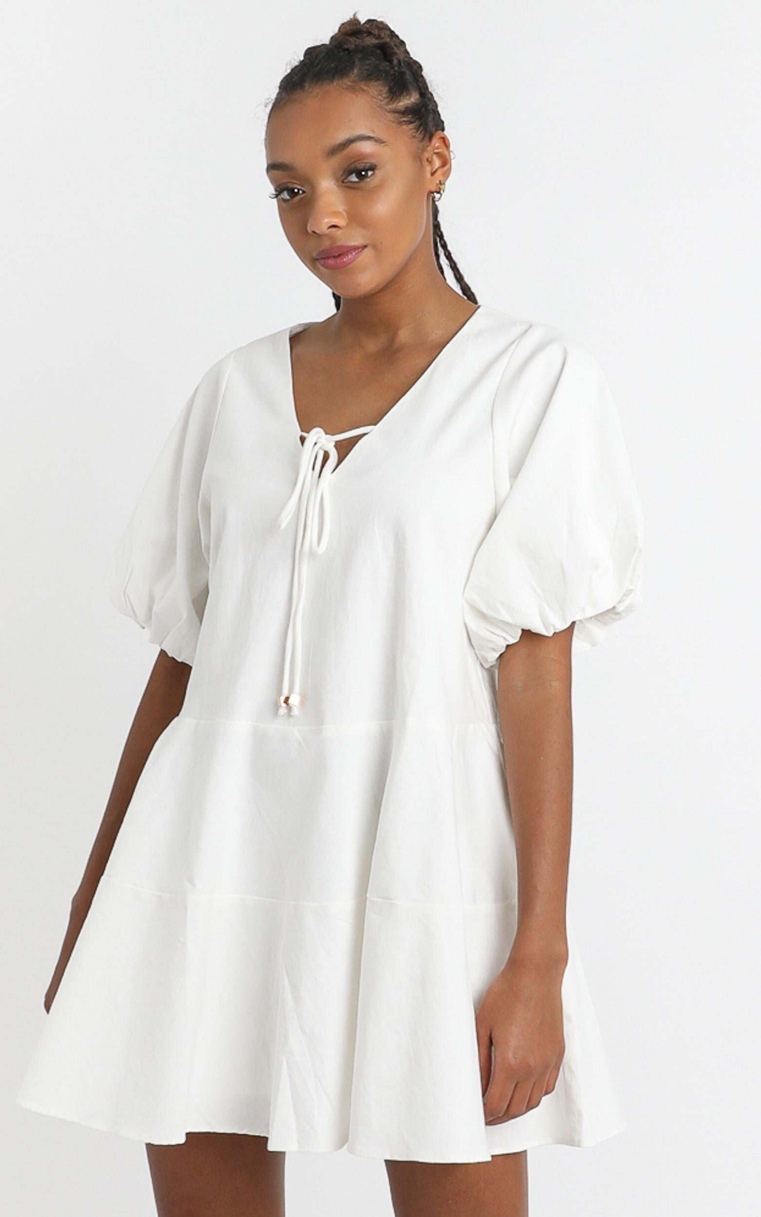 Krizza Mini Dress in white linen look - 6 (XS), White, hi-res image number null