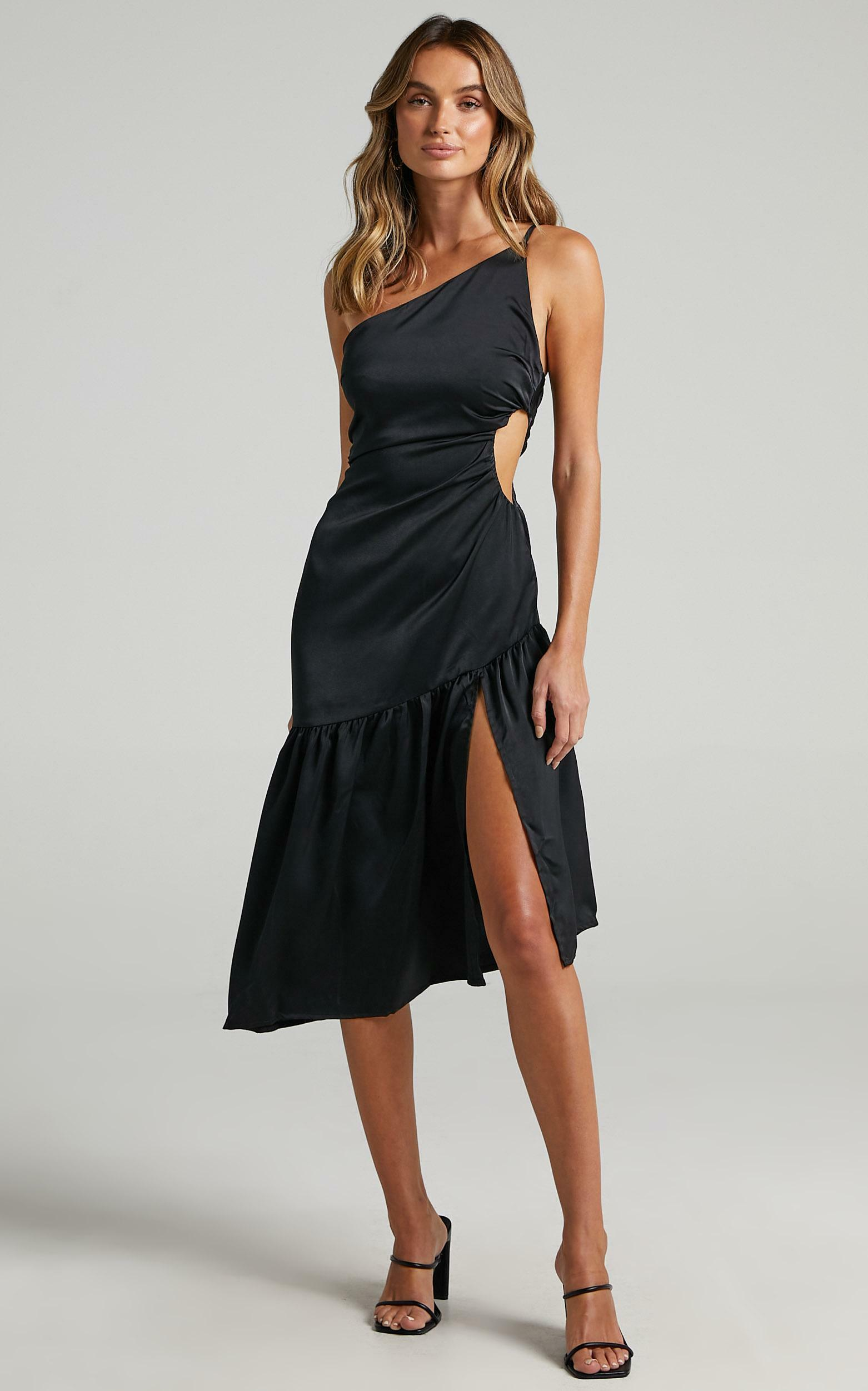 Octavia Cut Out Waist Midi Dress in black - 6 (XS), Black, hi-res image number null