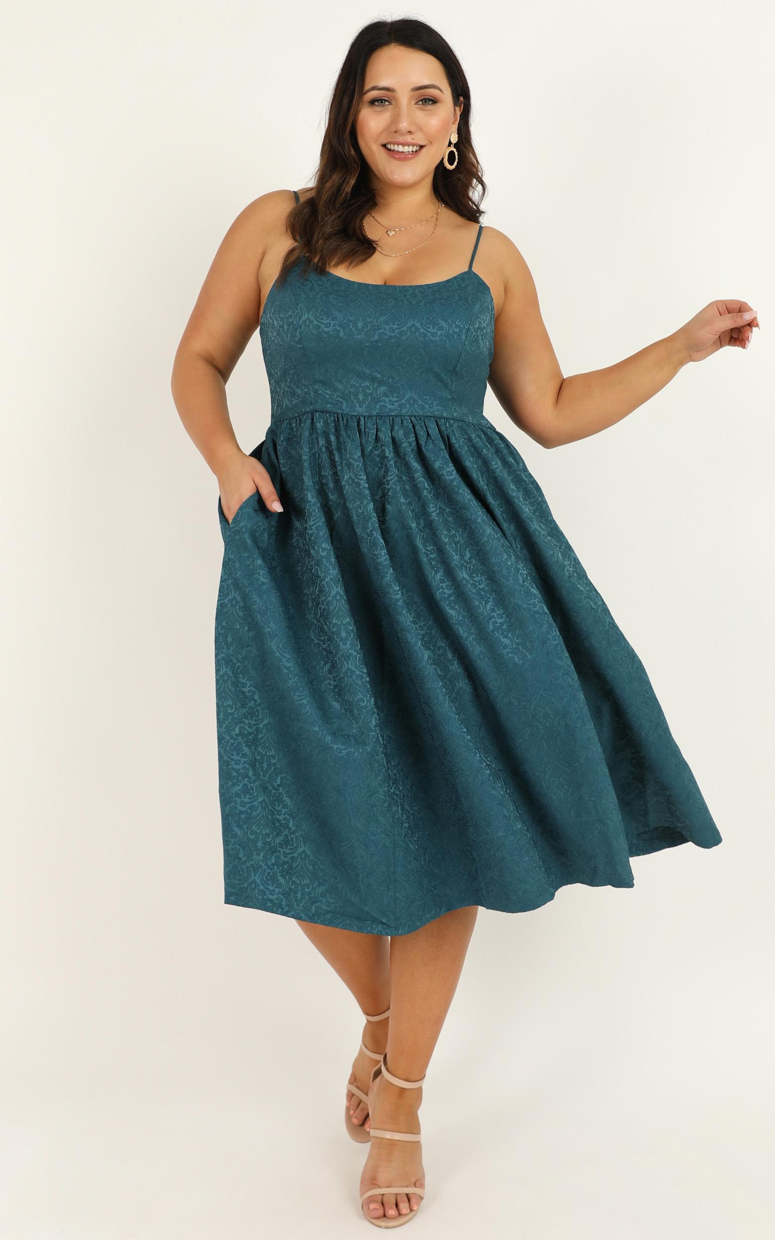 Entire Love Dress in emerald jacquard - 20 (XXXXL), Green, hi-res image number null