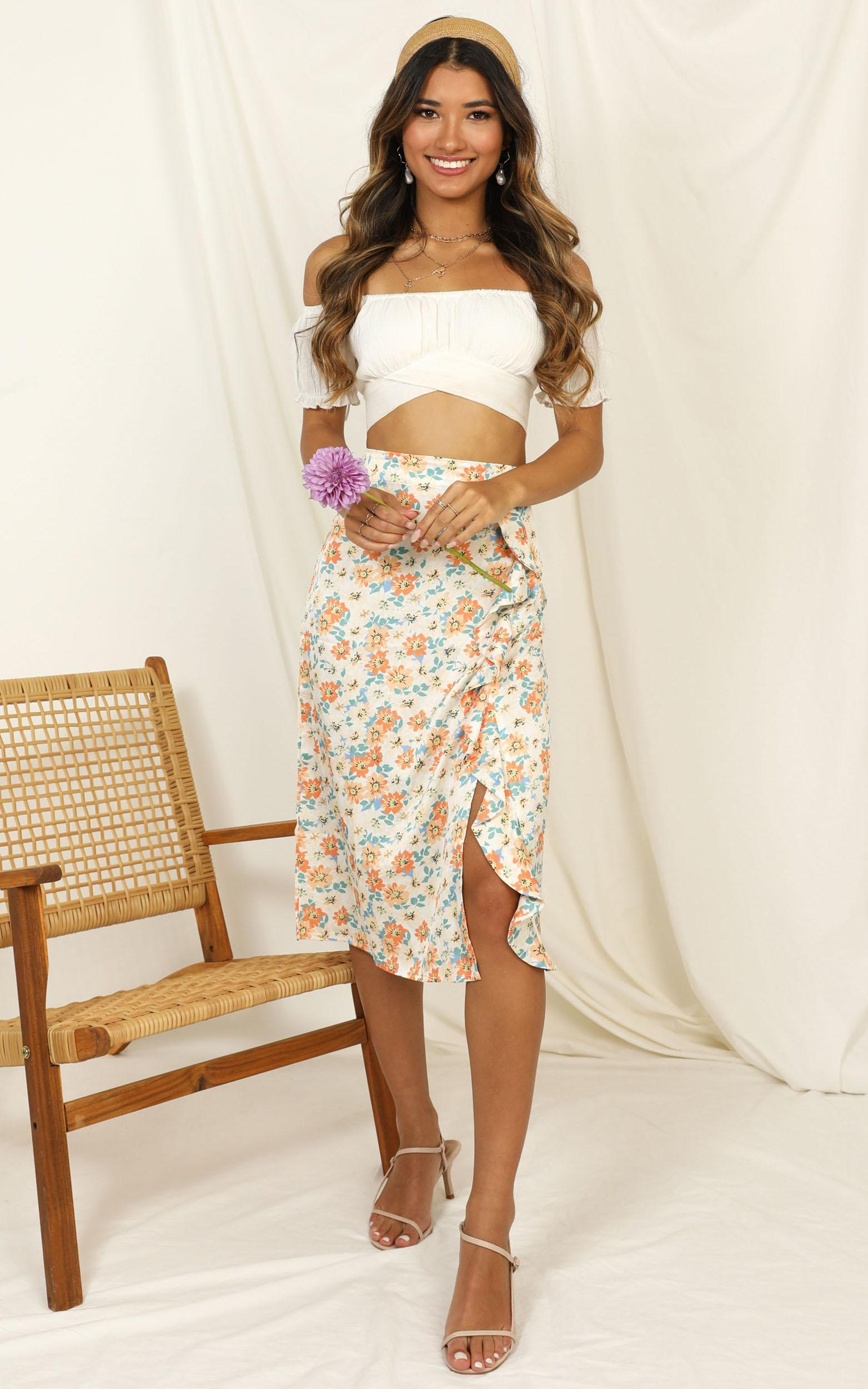 Let Things Go skirt in white floral - 16 (XXL), White, hi-res image number null