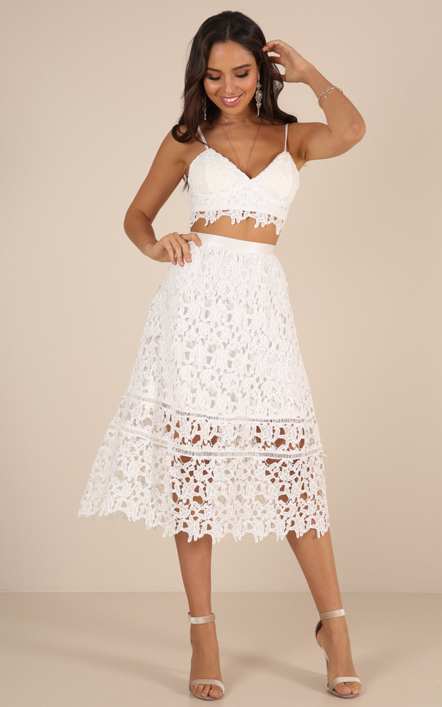 Lost Dreams two piece set in white crochet - 20 (XXXXL), White, hi-res image number null