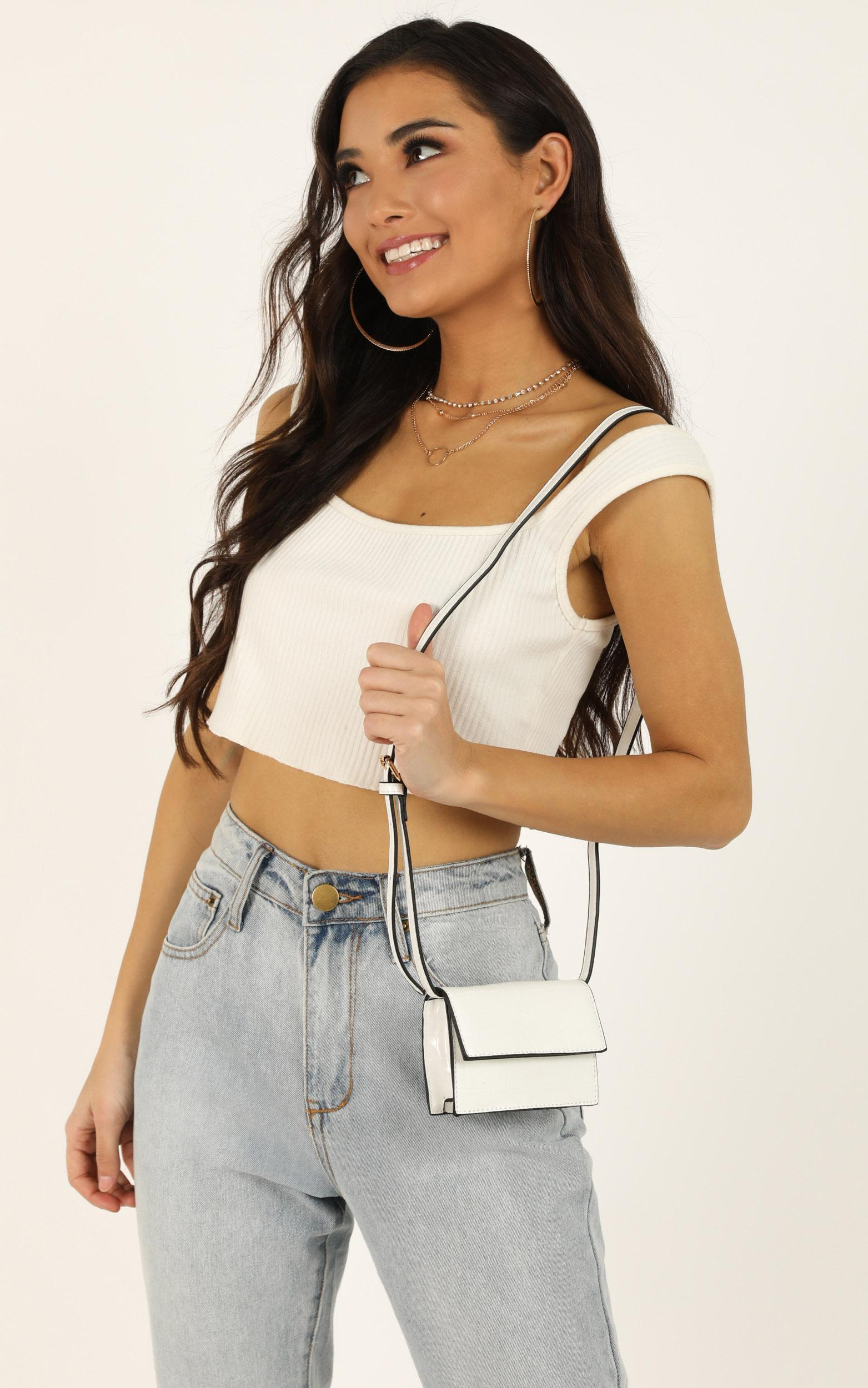 Kourtney Micro Bag In White Croc, White, hi-res image number null