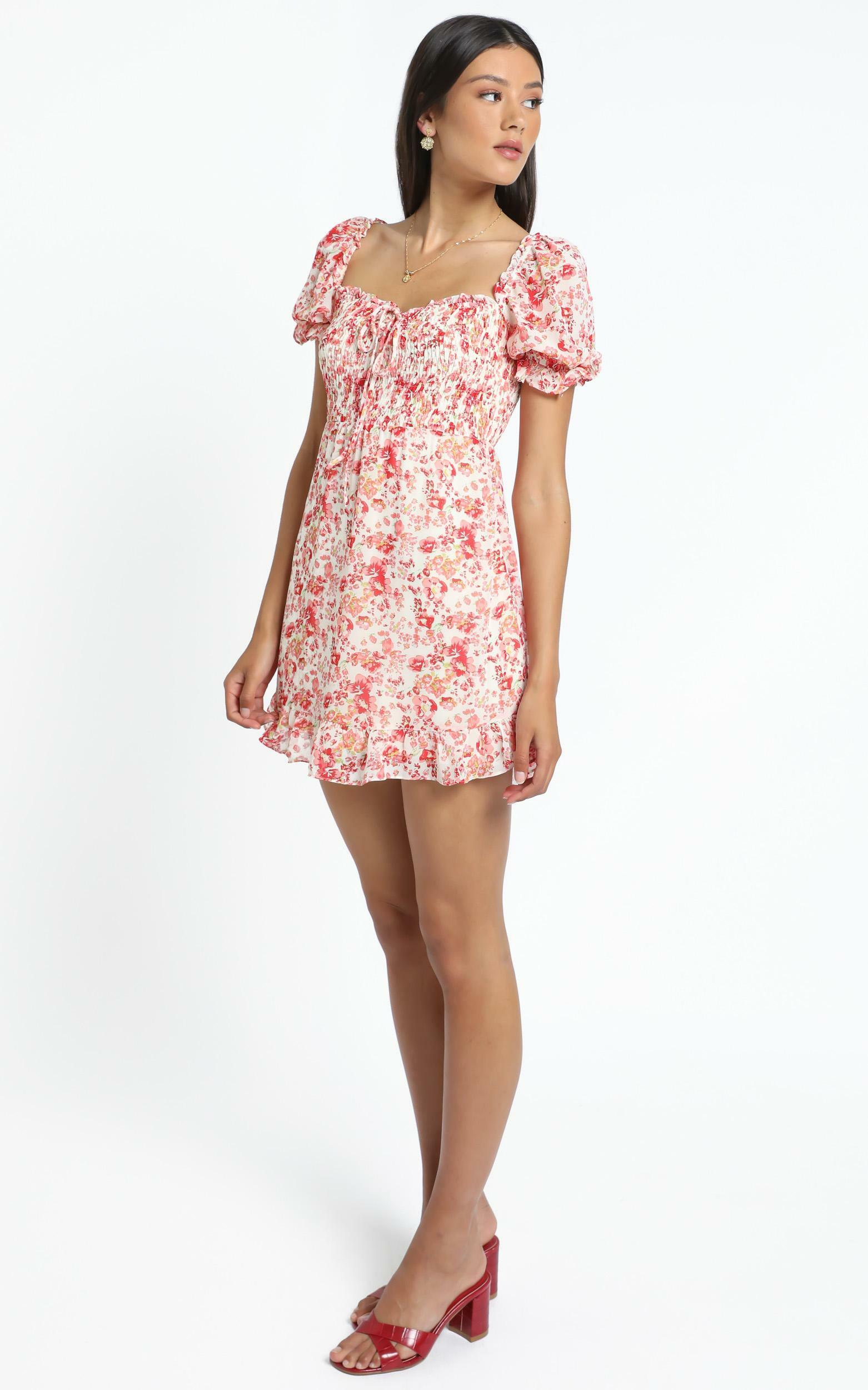 Shona Dress in Red Floral - 14 (XL), Red, hi-res image number null