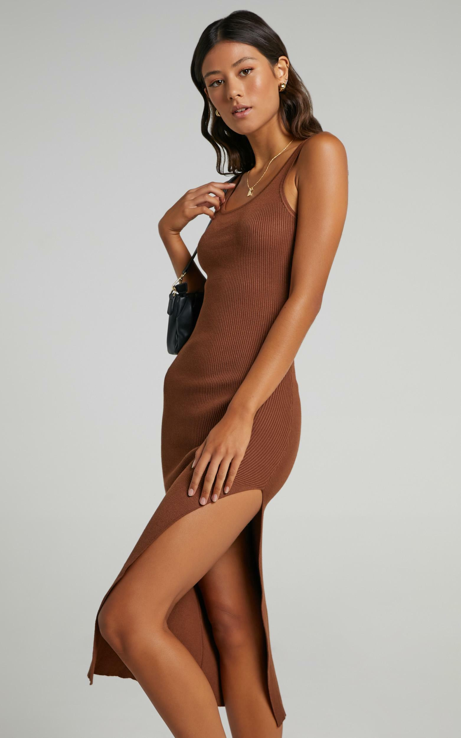 Konnie Twist Back Dress in Chocolate - 6 (XS), BRN9, hi-res image number null