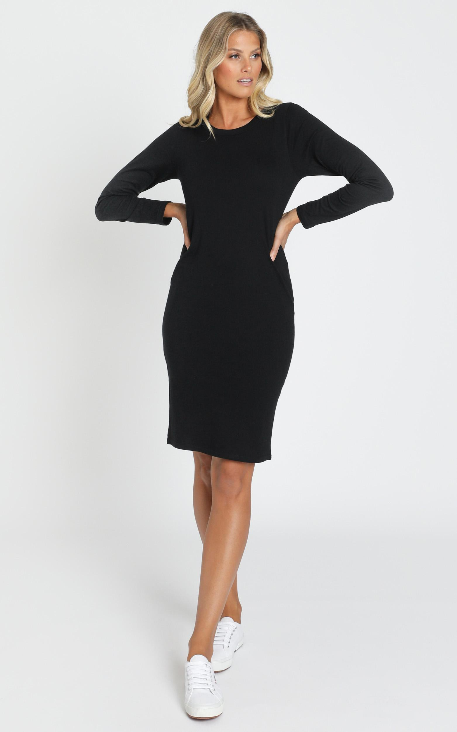 AS Colour - Mika Organic LS Tee Dress in Black - XS, Black, hi-res image number null