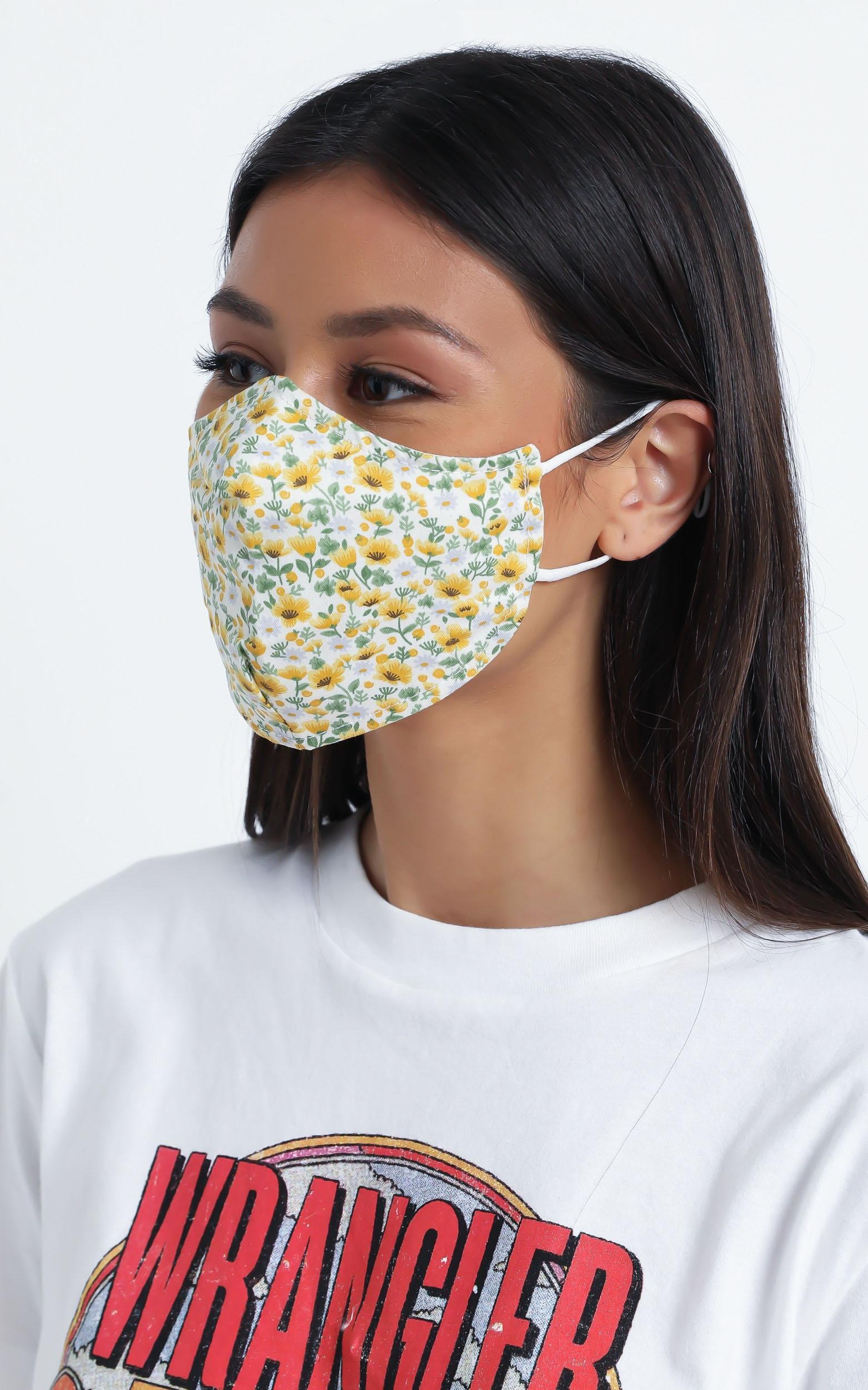 Face Mask in Yellow Floral, , hi-res image number null