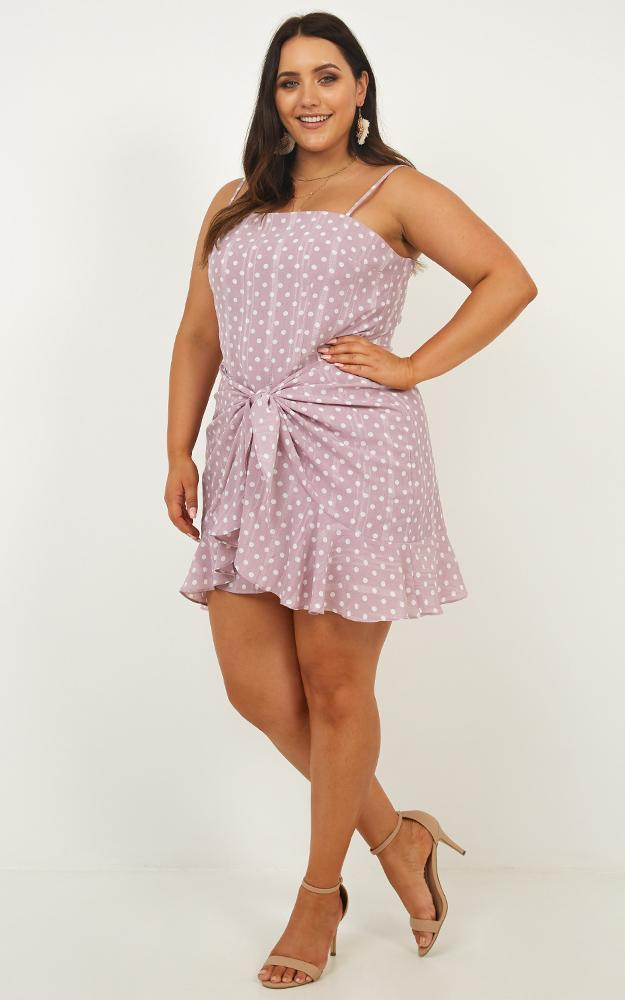 Out In The Moonlight Dress in lilac spot - 18 (XXXL), Purple, hi-res image number null