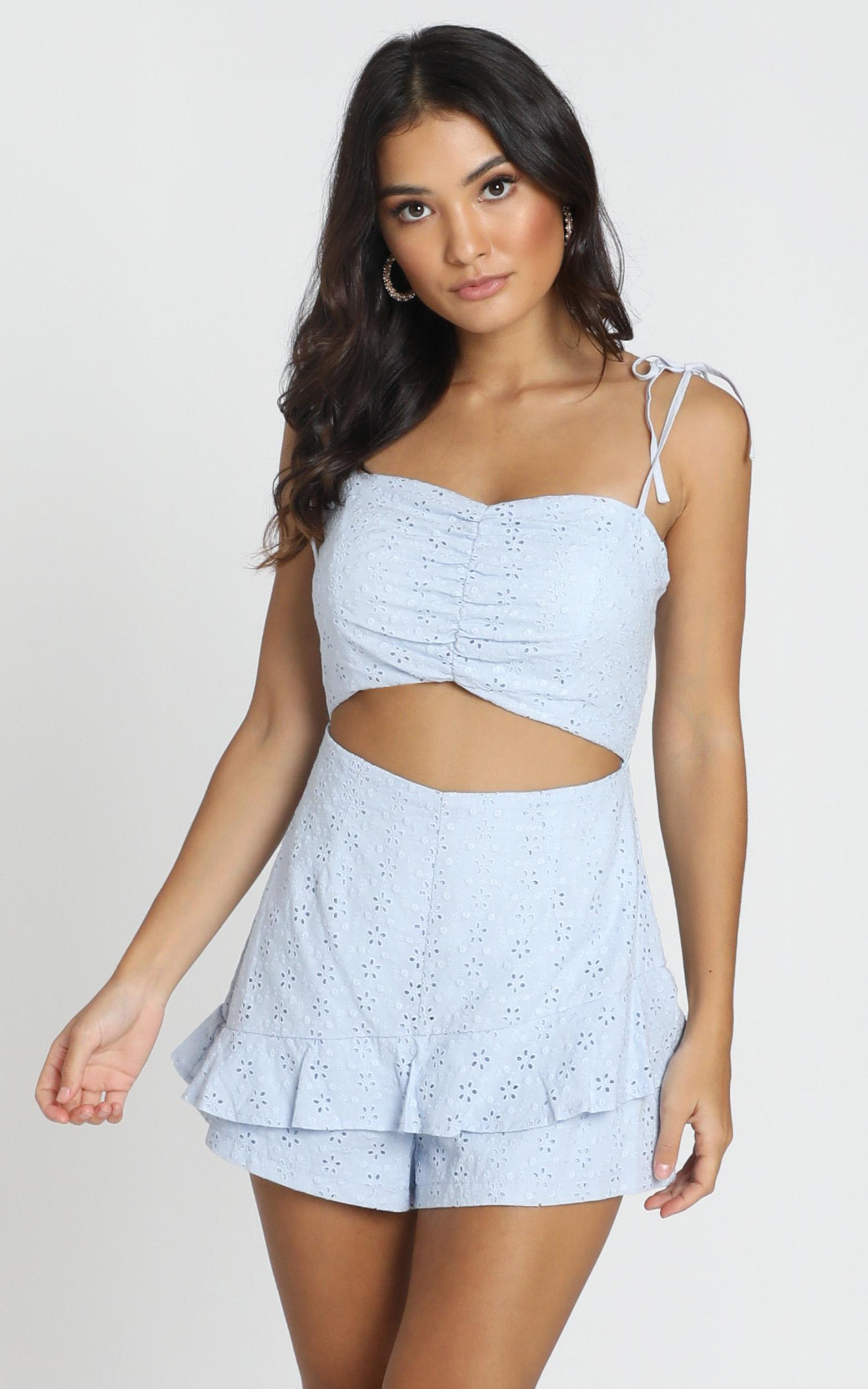 Jemma Playsuit in dusty blue - 6 (XS), Blue, hi-res image number null