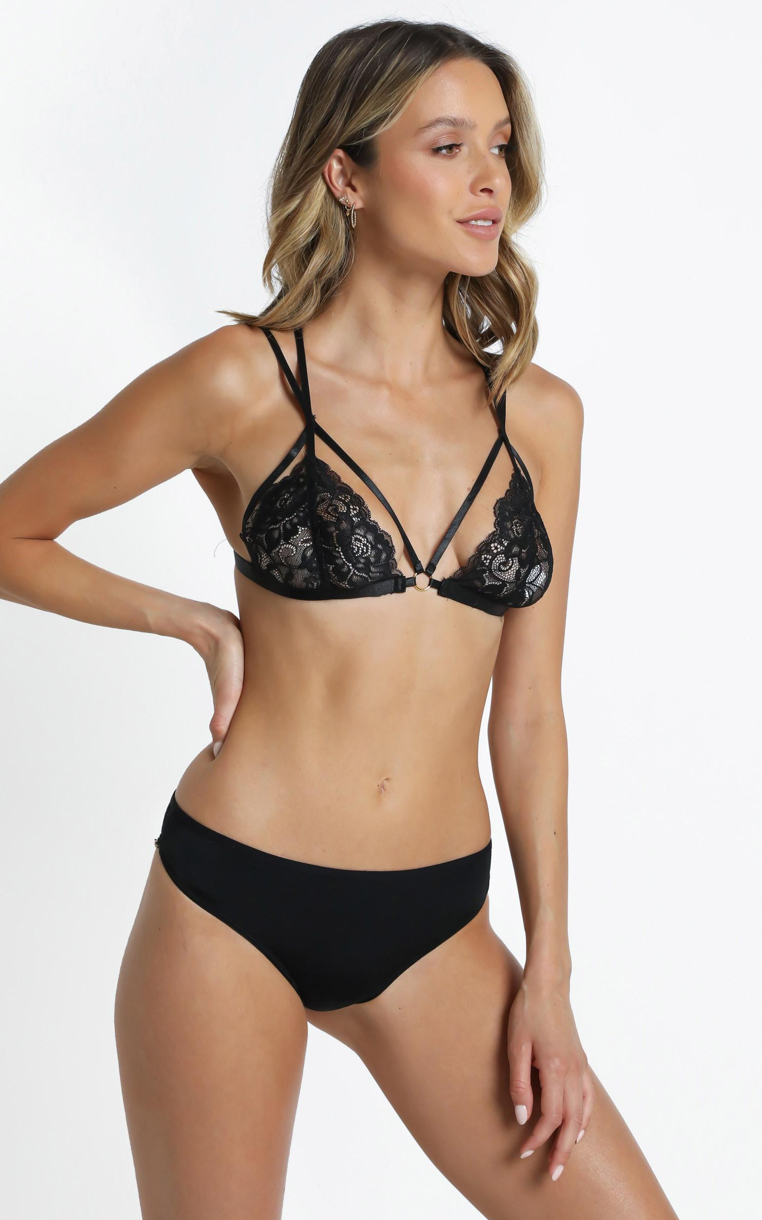 Kat The Label - Virtue Thong in Black Lace - XS, Black, hi-res image number null