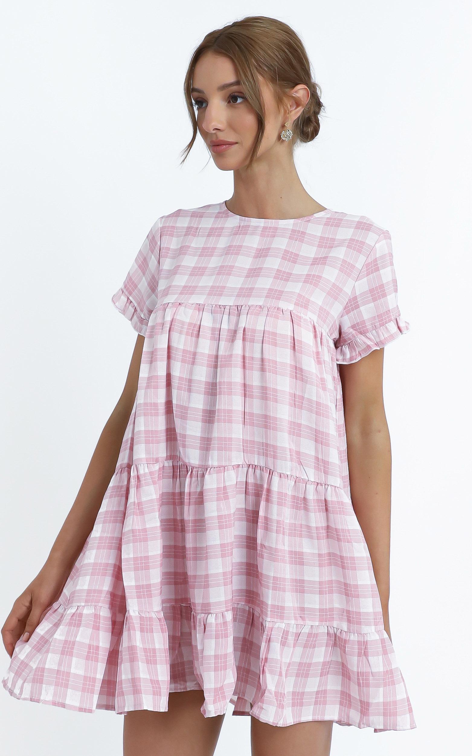 Elise Dress in Pink Check - 14 (XL), Blush, hi-res image number null