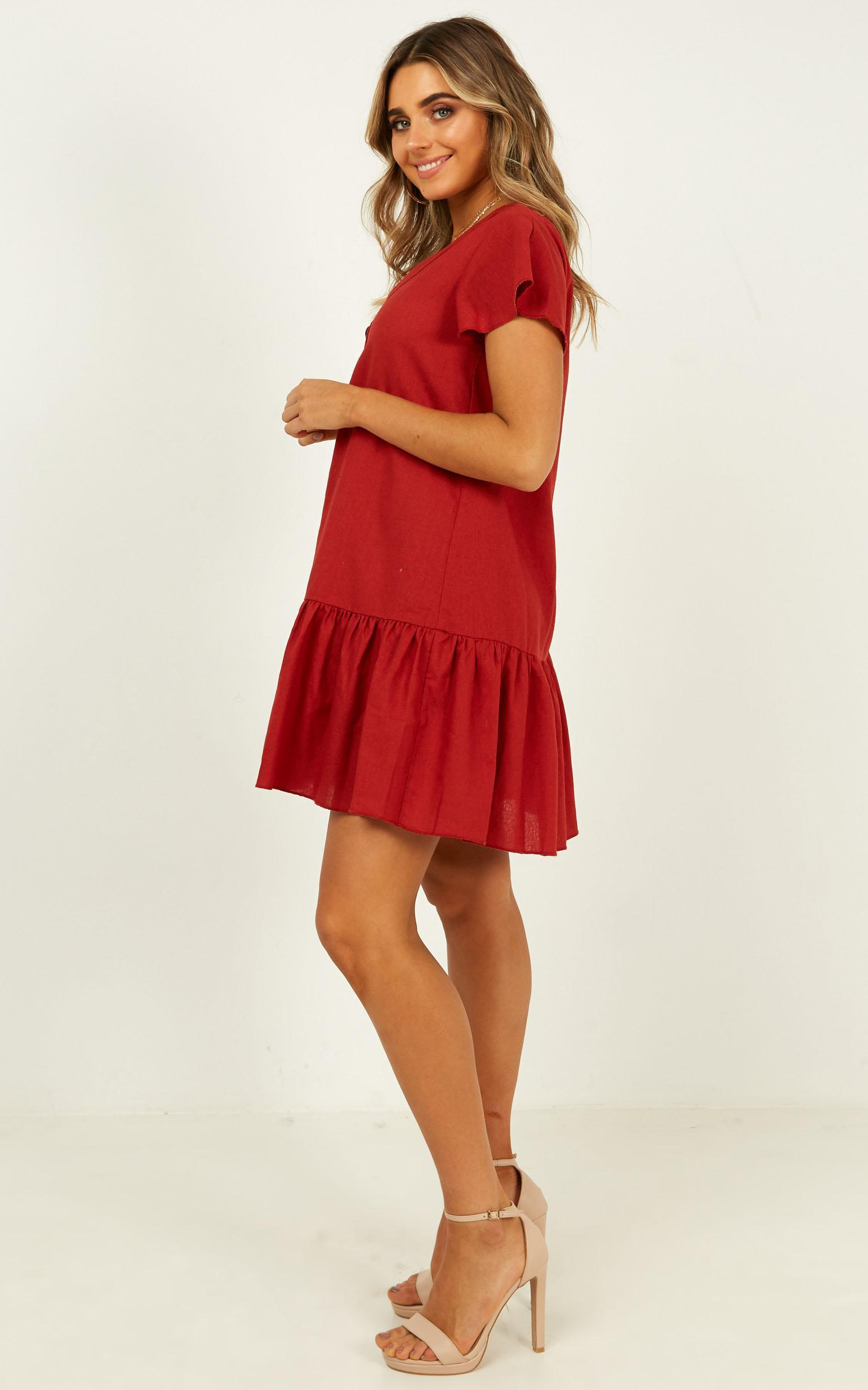 Recognise You dress in rust linen look - 12 (L), Rust, hi-res image number null