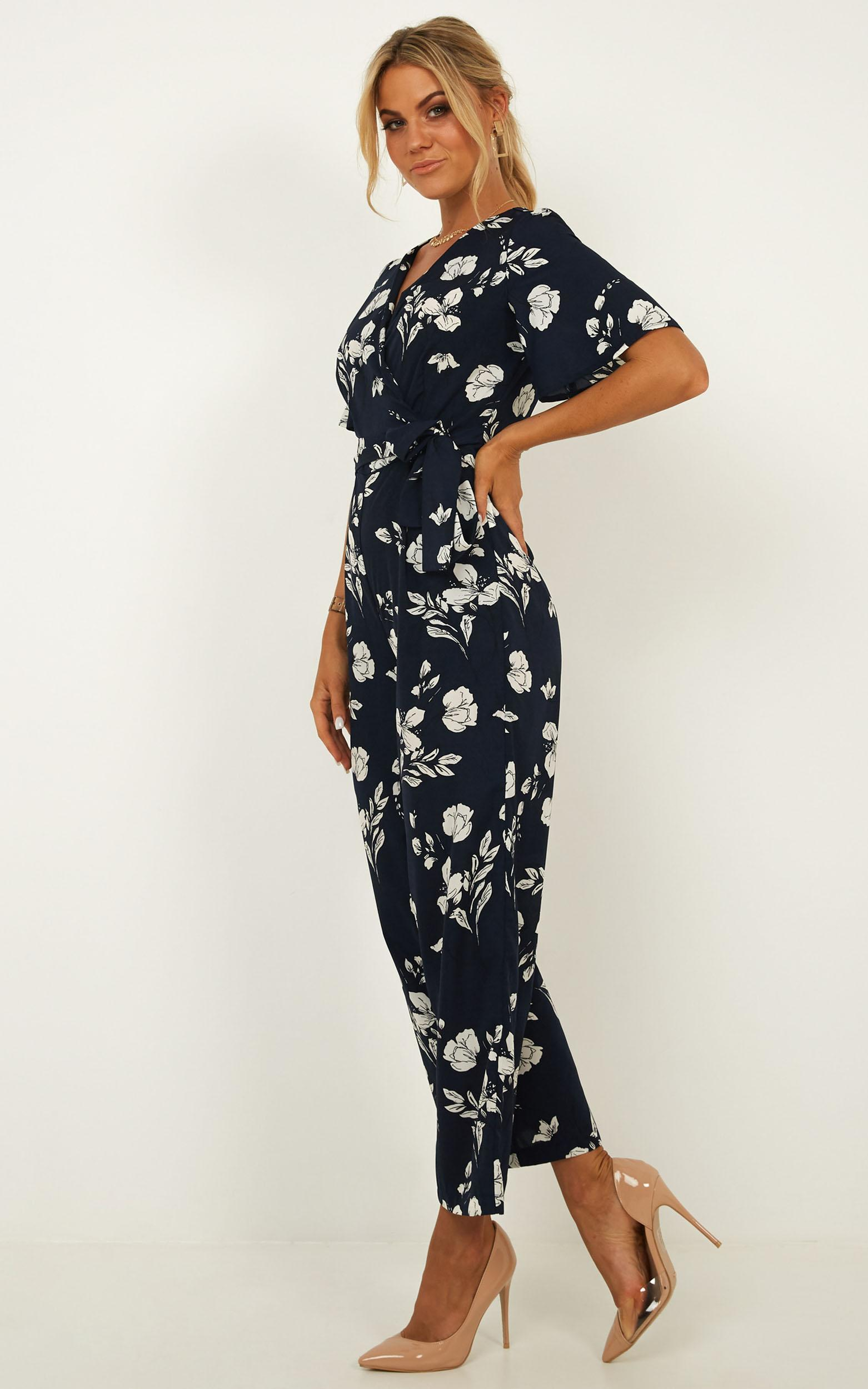 Due In Jumpsuit In navy floral - 14 (XL), Navy, hi-res image number null