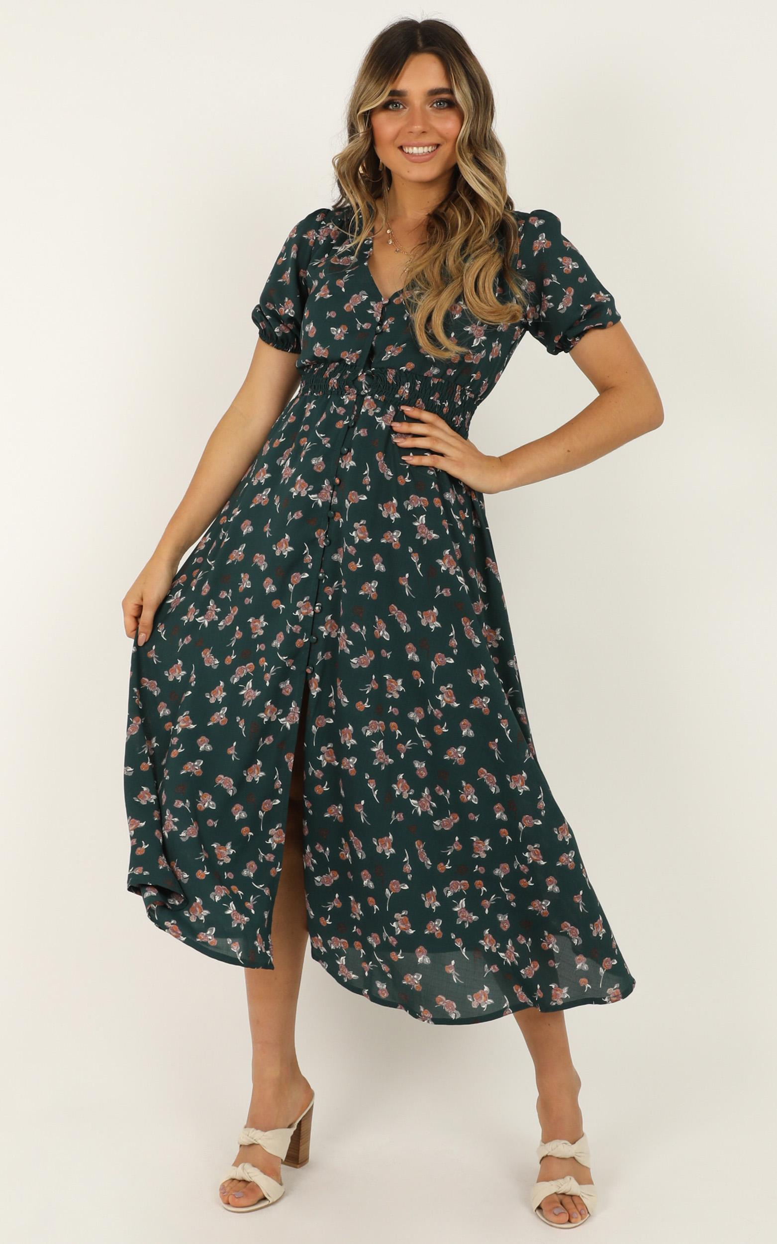 What Do You Want Dress in emerald floral - 18 (XXXL), Green, hi-res image number null