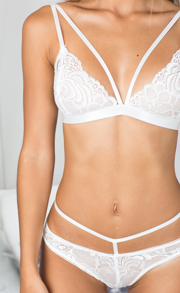 Wild Obsession bralette set in white lace - 14 (XL), White, hi-res image number null