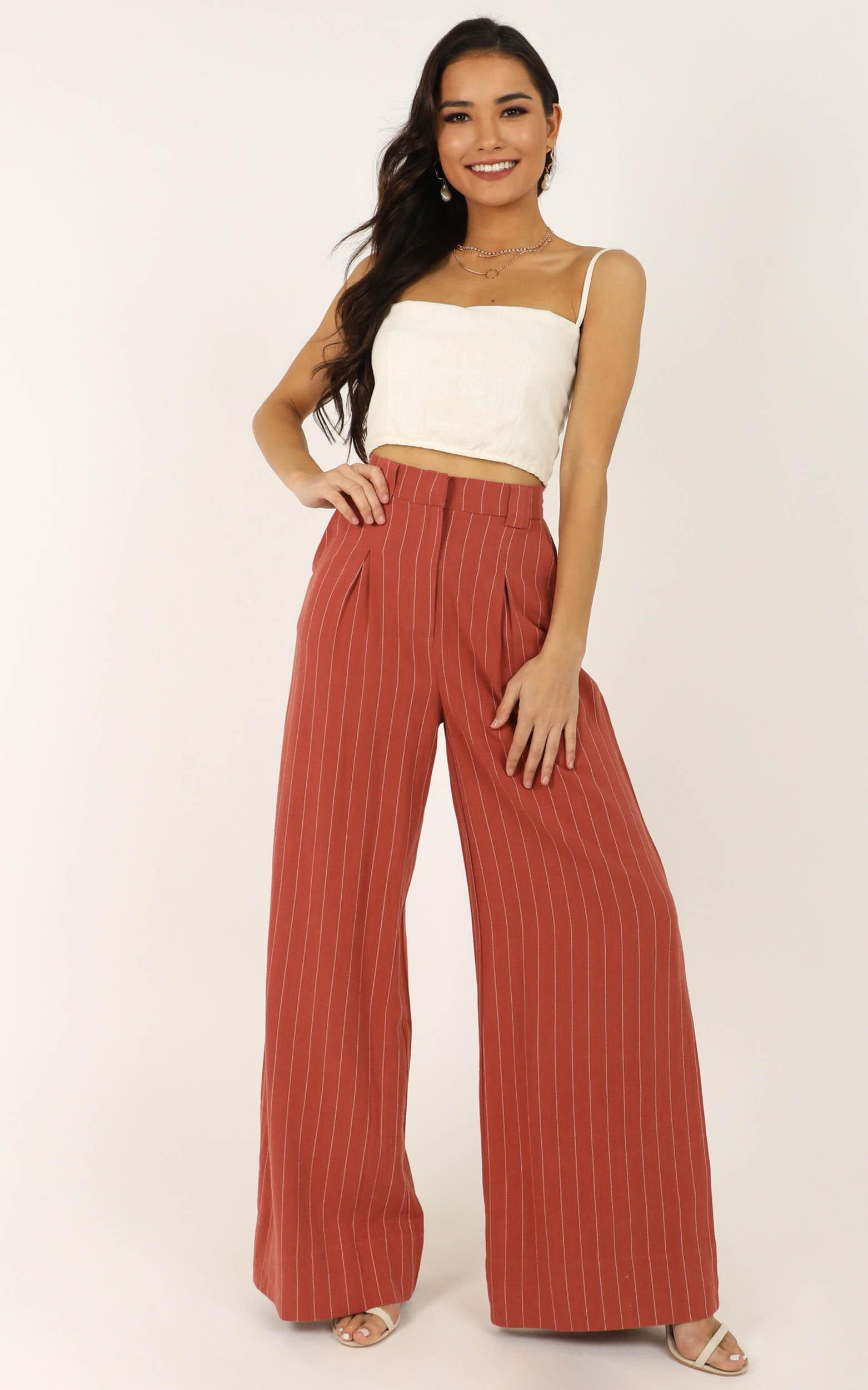 World Is On Fire pants In rust linen look - 20 (XXXXL), Rust, hi-res image number null