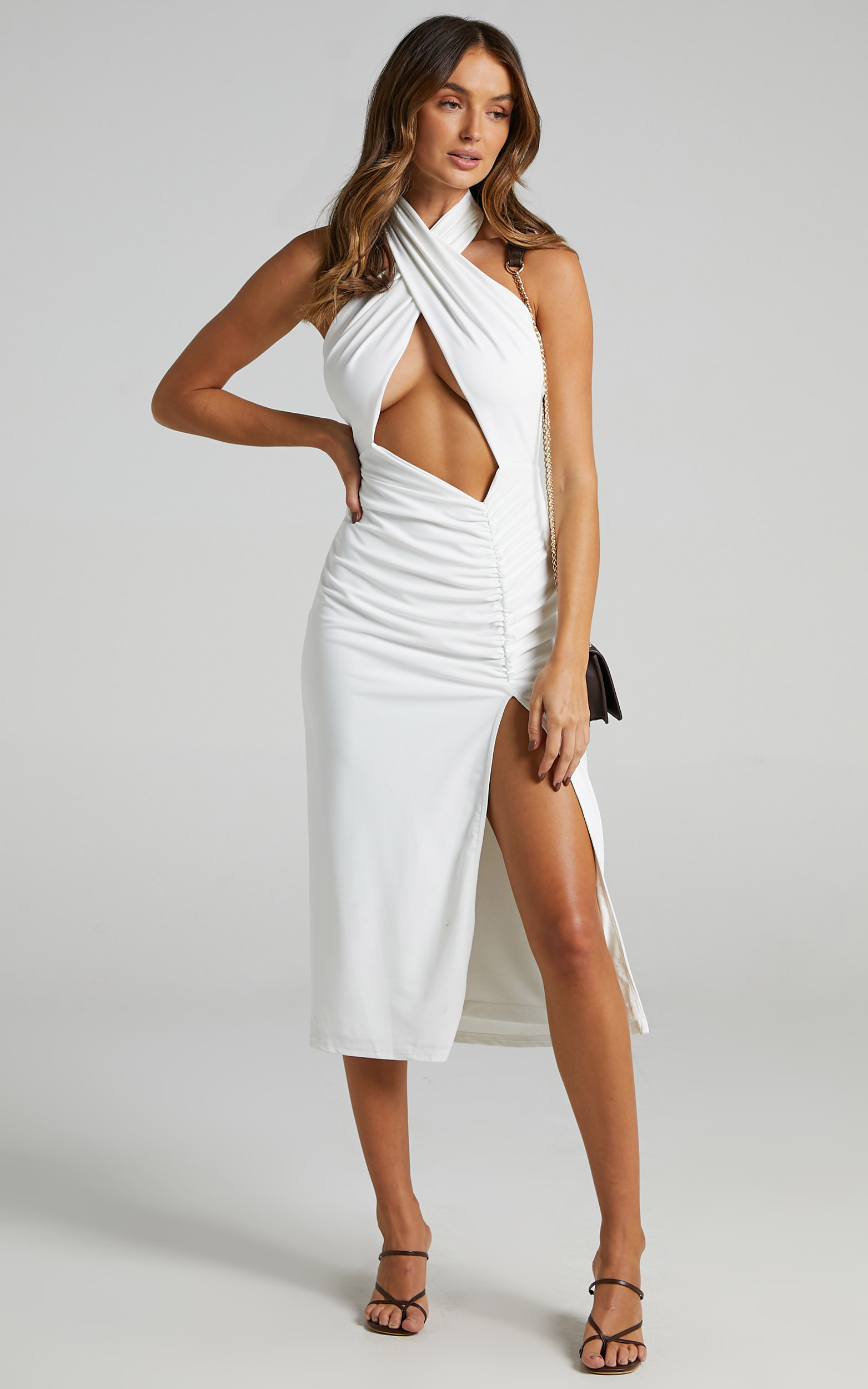Alara Cutout Ruched Midi Dress in White - 06, WHT2, hi-res image number null
