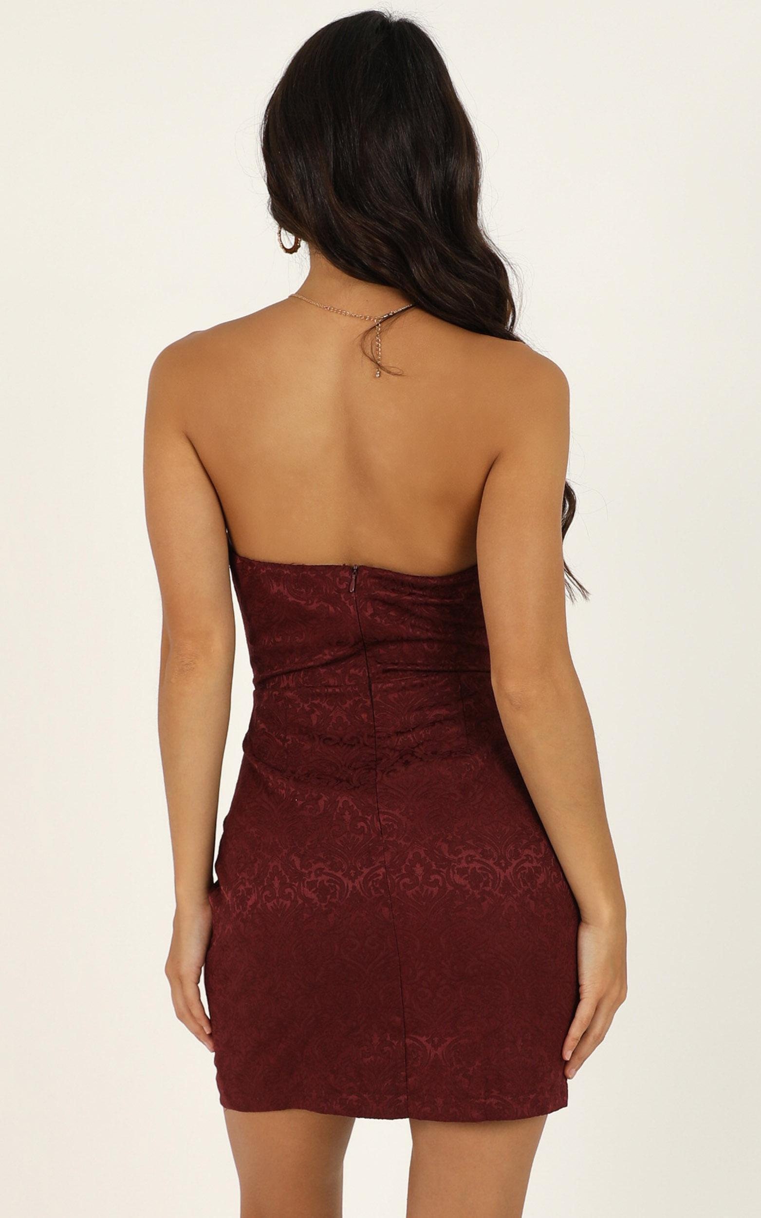 Its Too Late Dress In wine jacquard - 20 (XXXXL), Wine, hi-res image number null