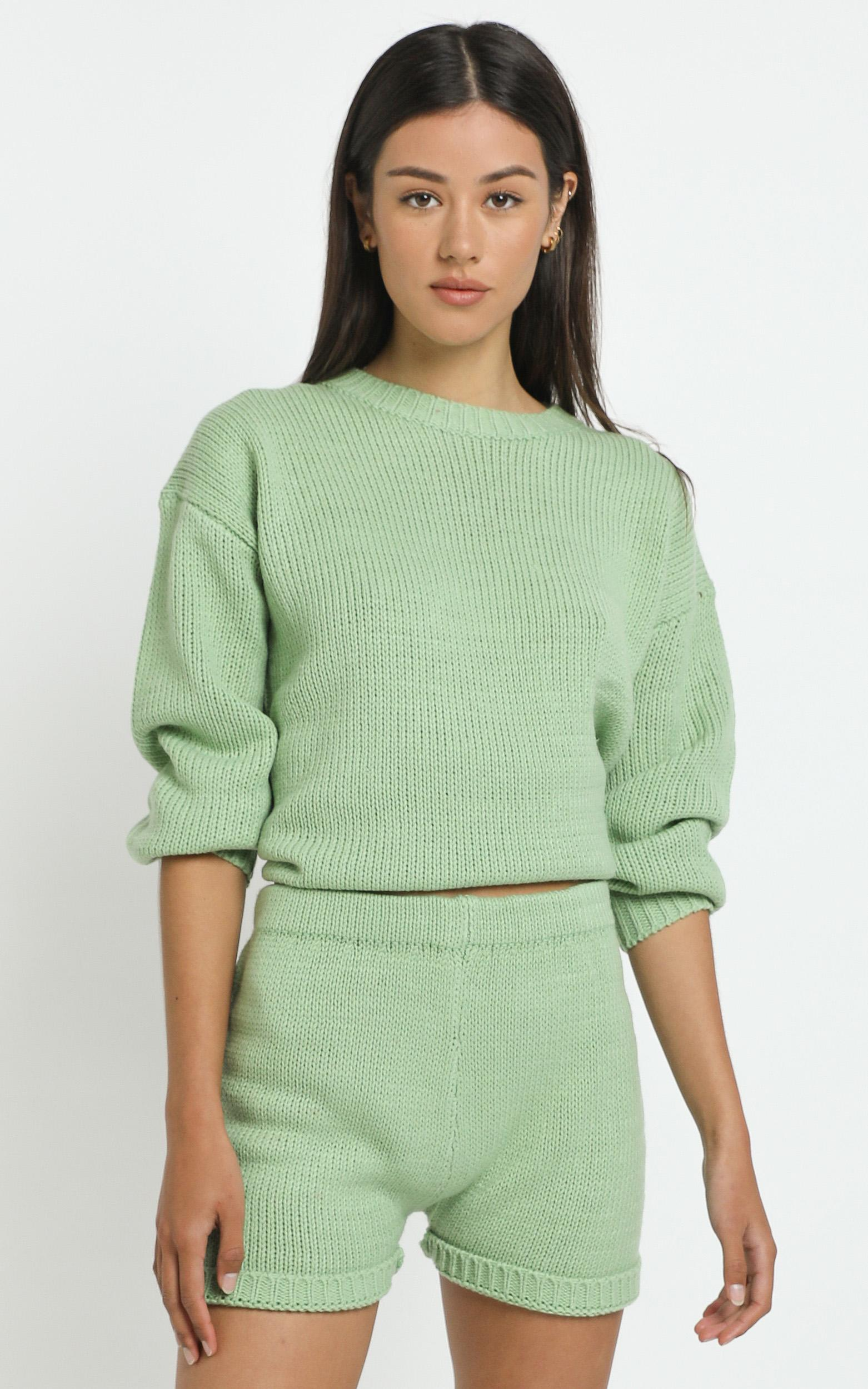 Becca Knit Shorts in Green - 12 (L), Green, hi-res image number null