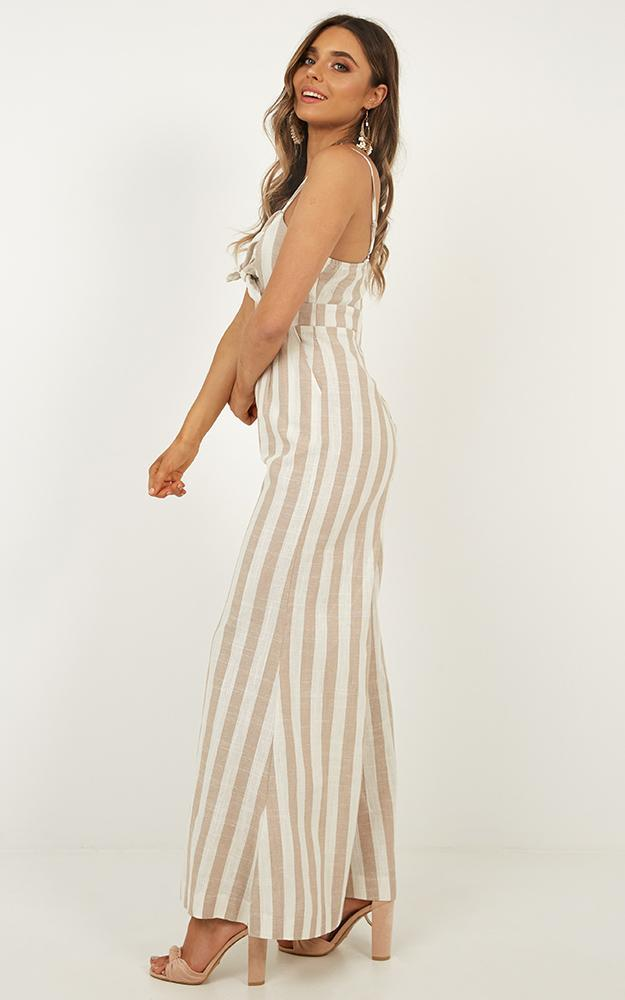 Heart Out Jumpsuit in beige stripe linen look, Beige, hi-res image number null