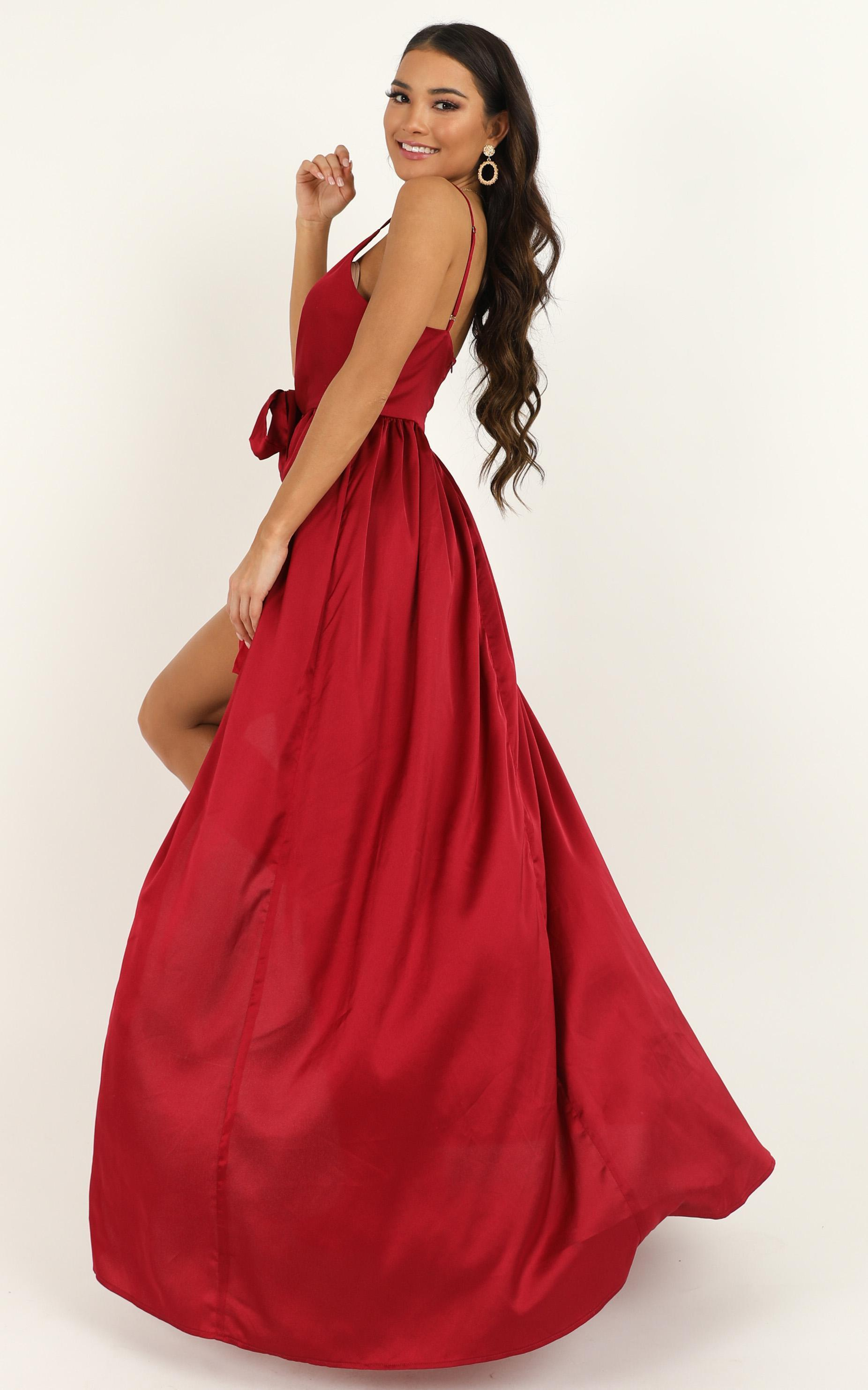 Miracle Worker Dress In Wine Satin - 20 (XXXXL), Wine, hi-res image number null
