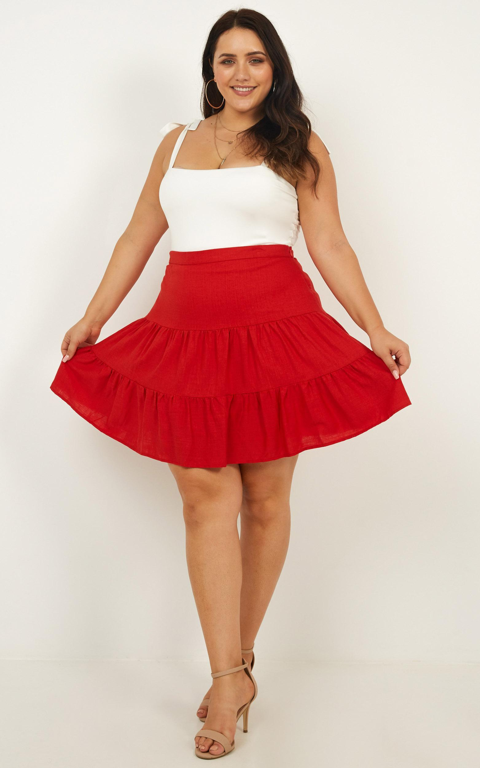 Summer Ready Skirt in red linen look - 12 (L), Red, hi-res image number null
