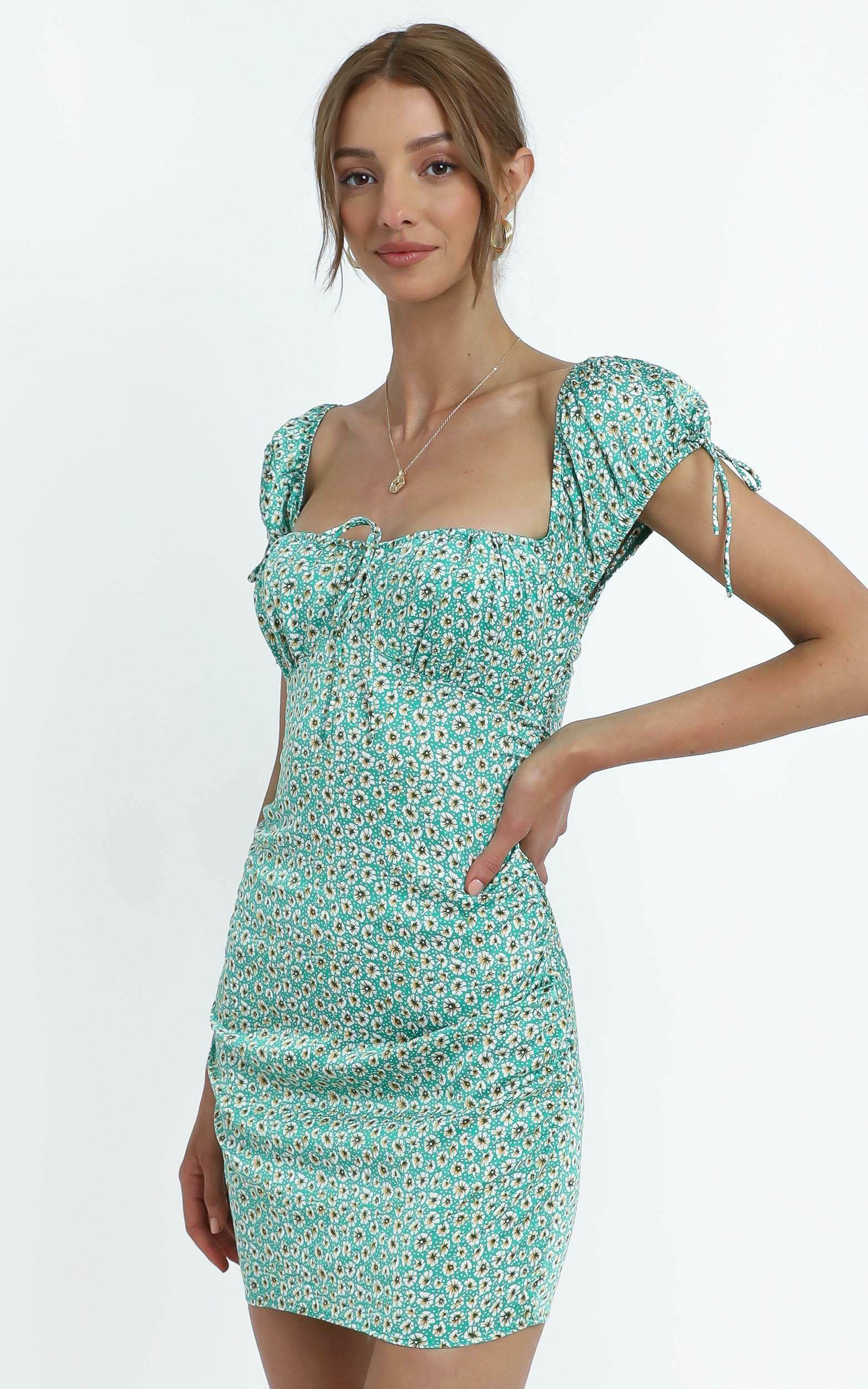 Whitley Dress in Sage Floral - 14 (XL), Green, hi-res image number null