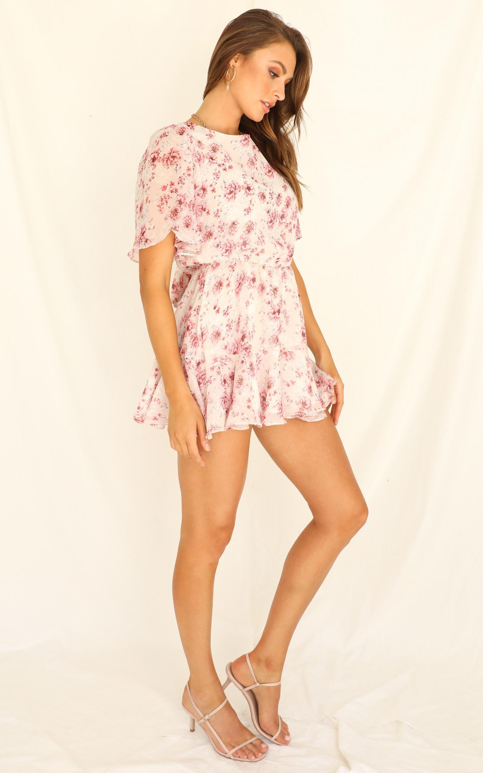 Getaway Island Playsuit in  white floral - 20 (XXXXL), White, hi-res image number null