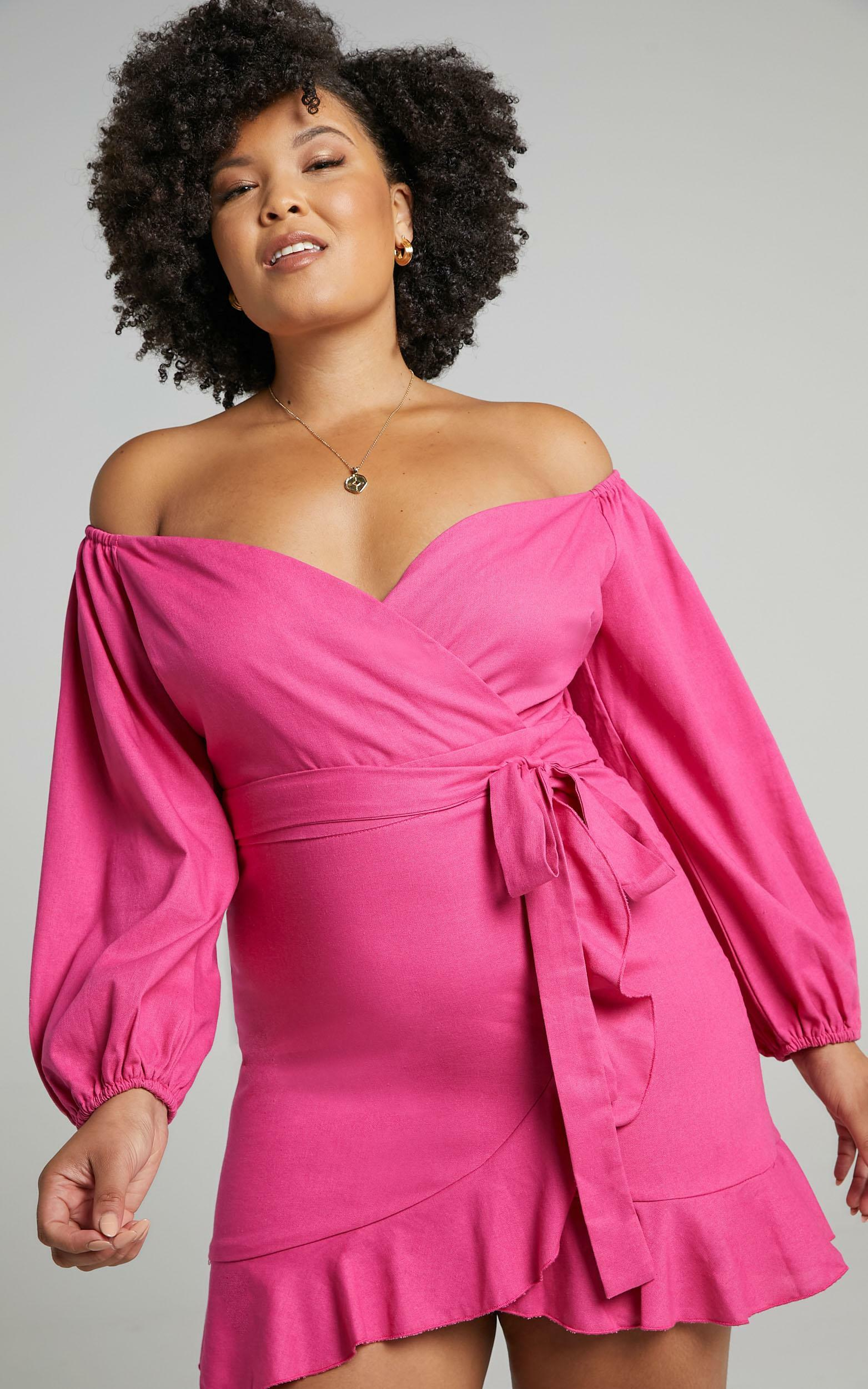Cant Move On Off Shoulder Mini Dress in Hot Pink Linen Look - 20, PNK5, hi-res image number null