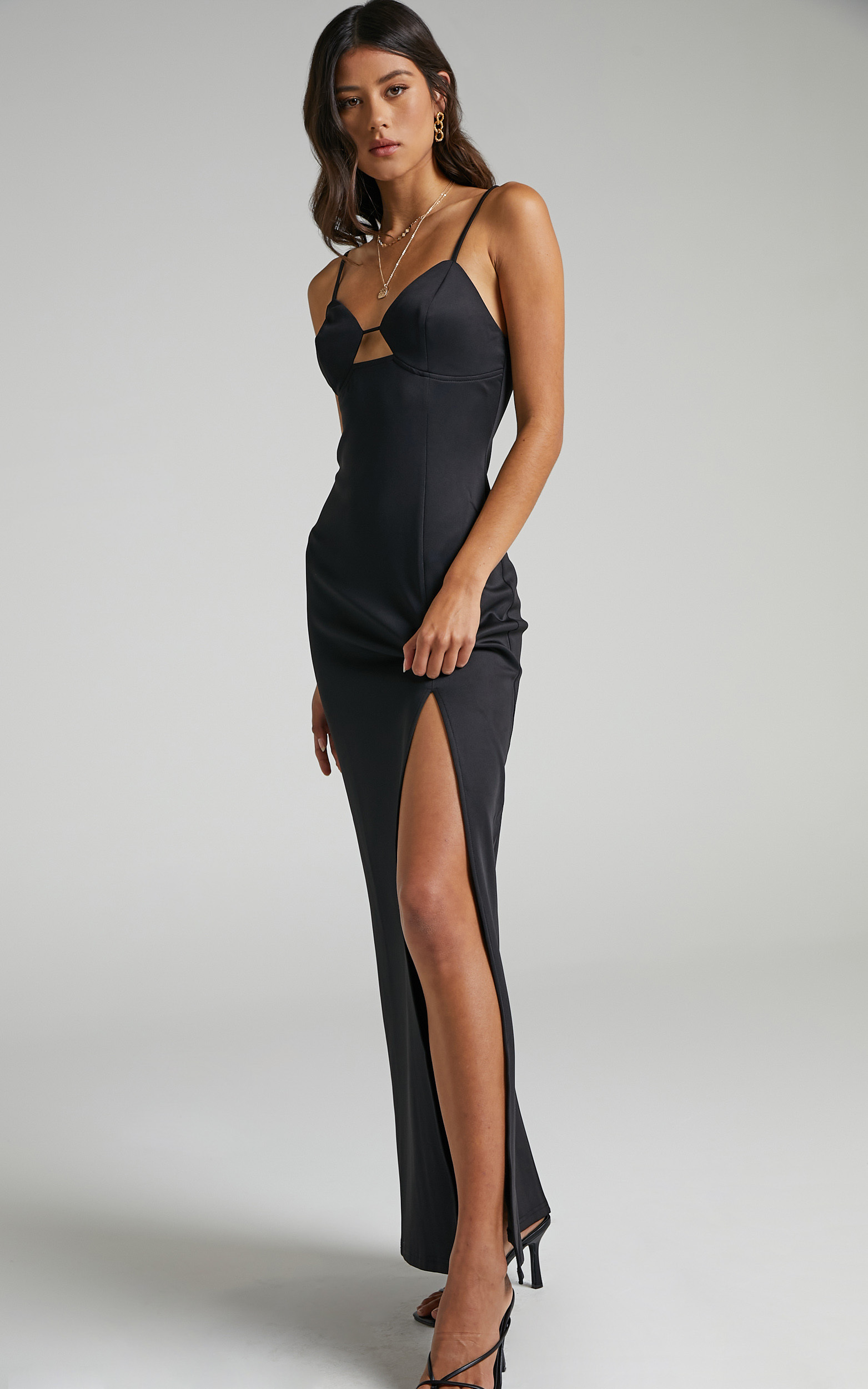 Indianna Maxi with Front Detailing in Black - 06, BLK1, hi-res image number null