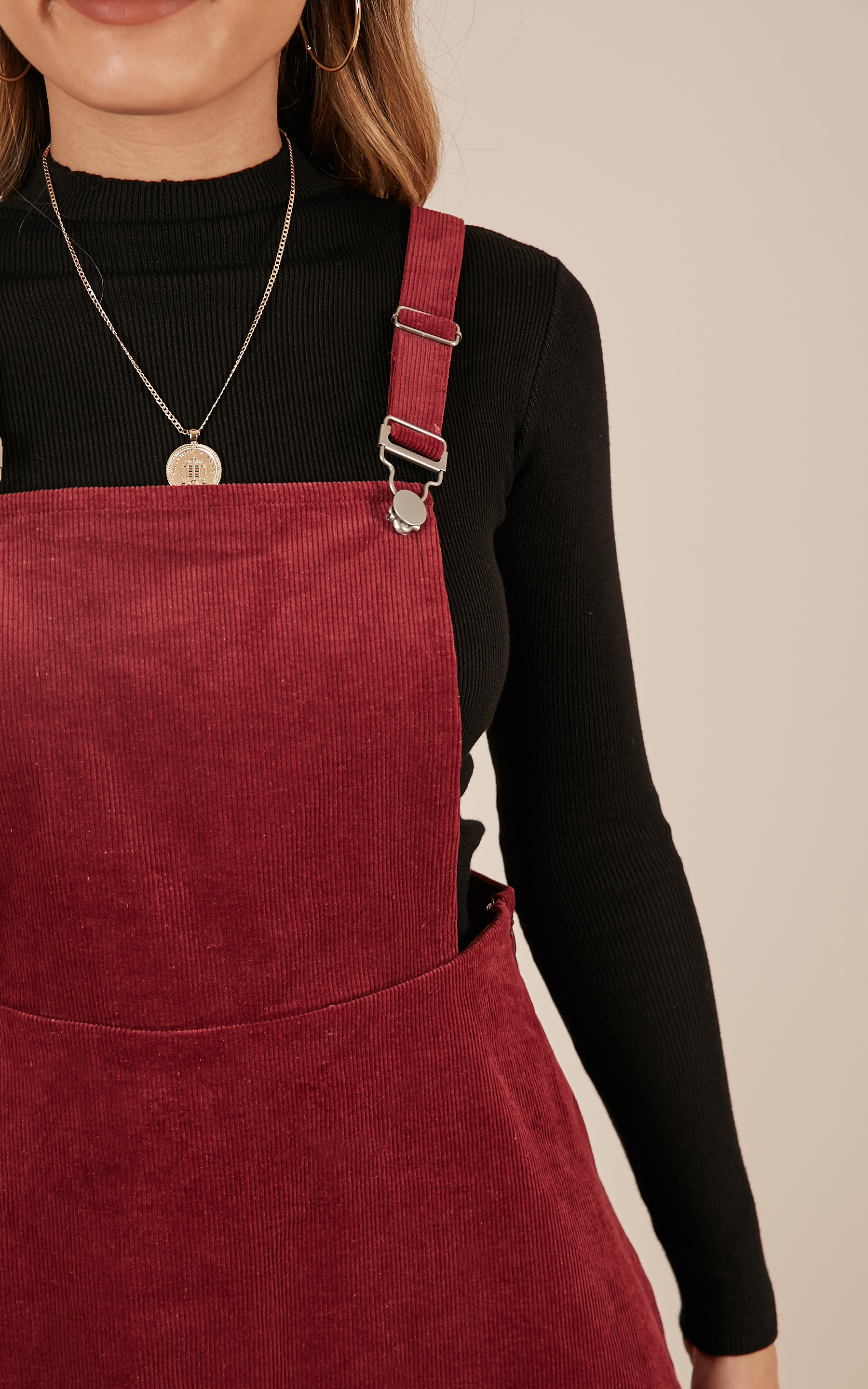 Thats What I Like Pinafore Dress In wine - 20 (XXXXL), Wine, hi-res image number null