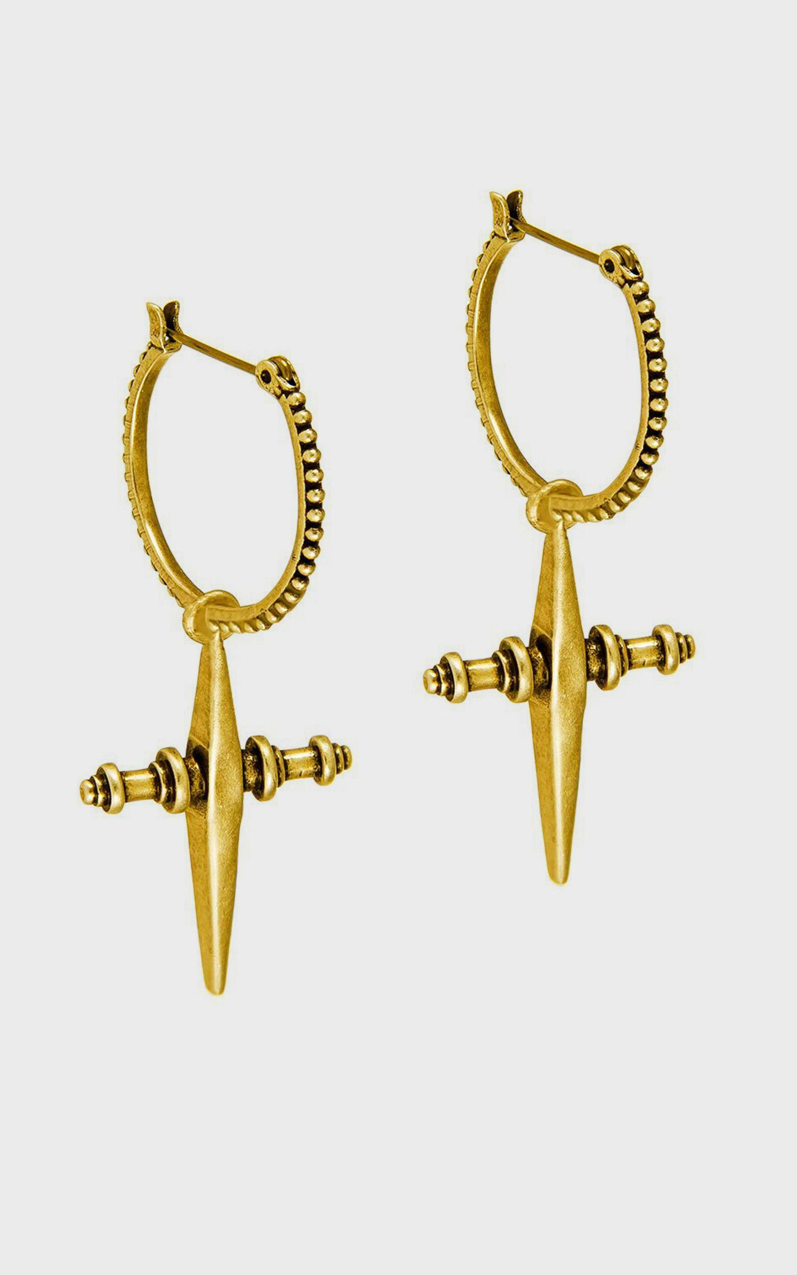 Luv Aj - Cross Hoops in Gold, , hi-res image number null