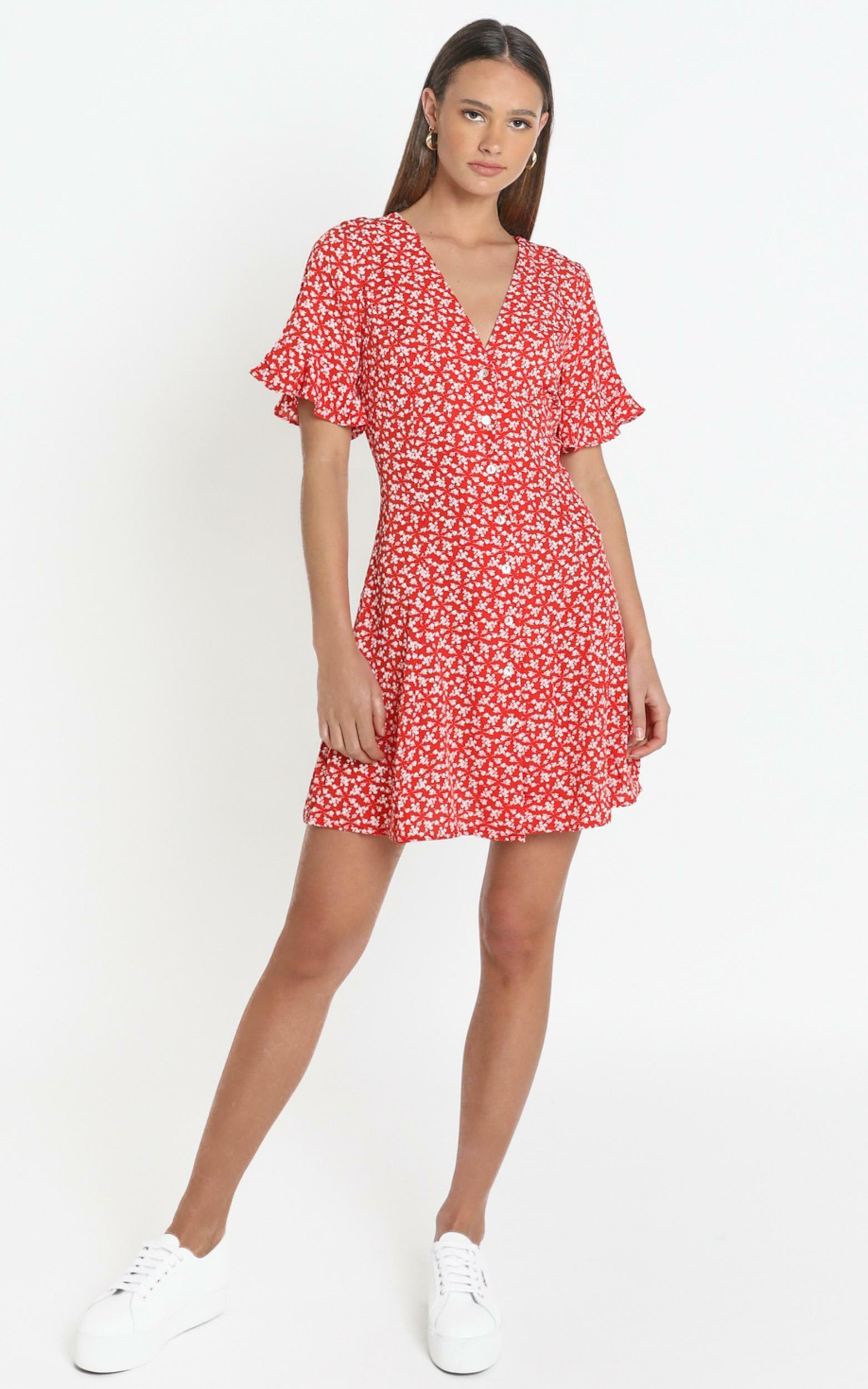 Tamara Dress in Red Floral - 12 (L), Red, hi-res image number null