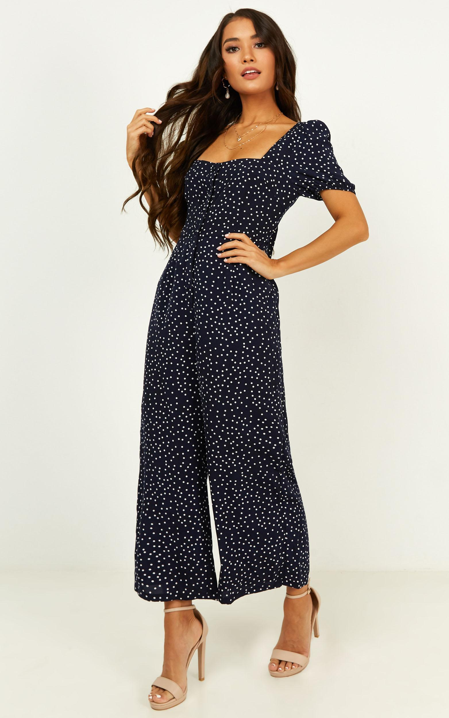 Clear Intentions Jumpsuit in navy spot - 12 (L), Navy, hi-res image number null